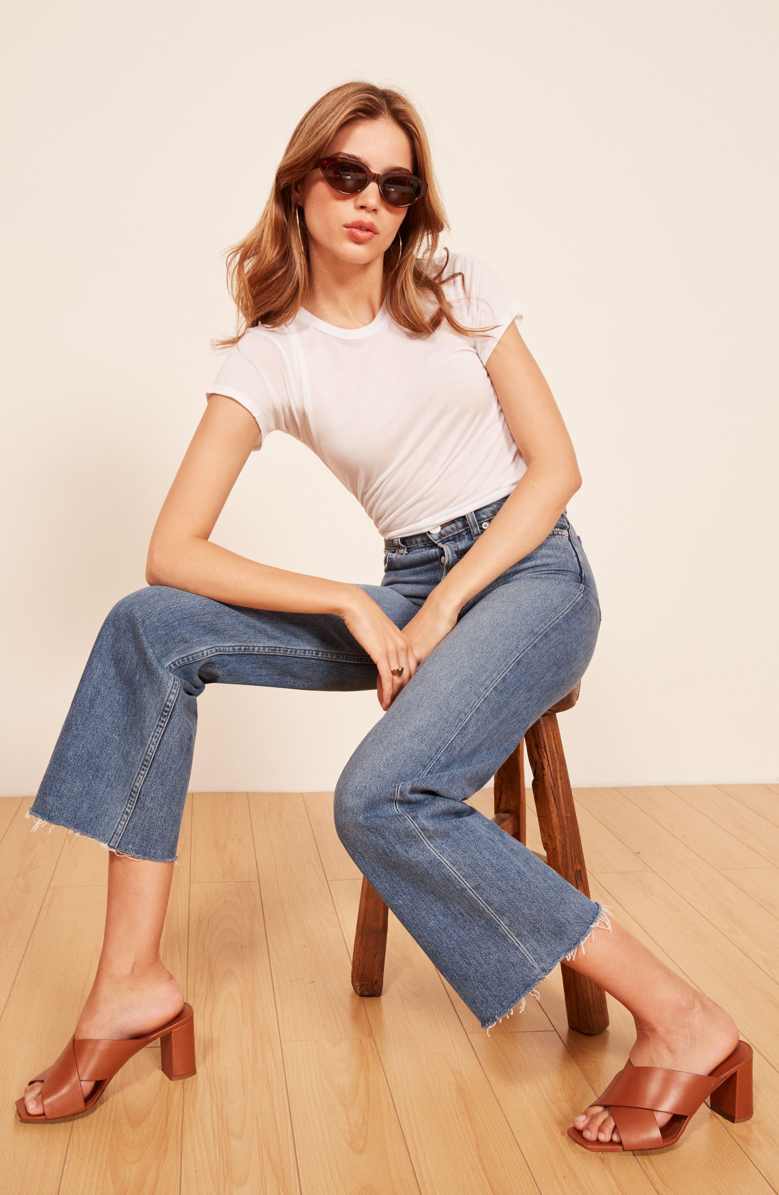 REFORMATION, Fawcett High Waist Crop Jeans, Alternate thumbnail 6, color, CELTIC