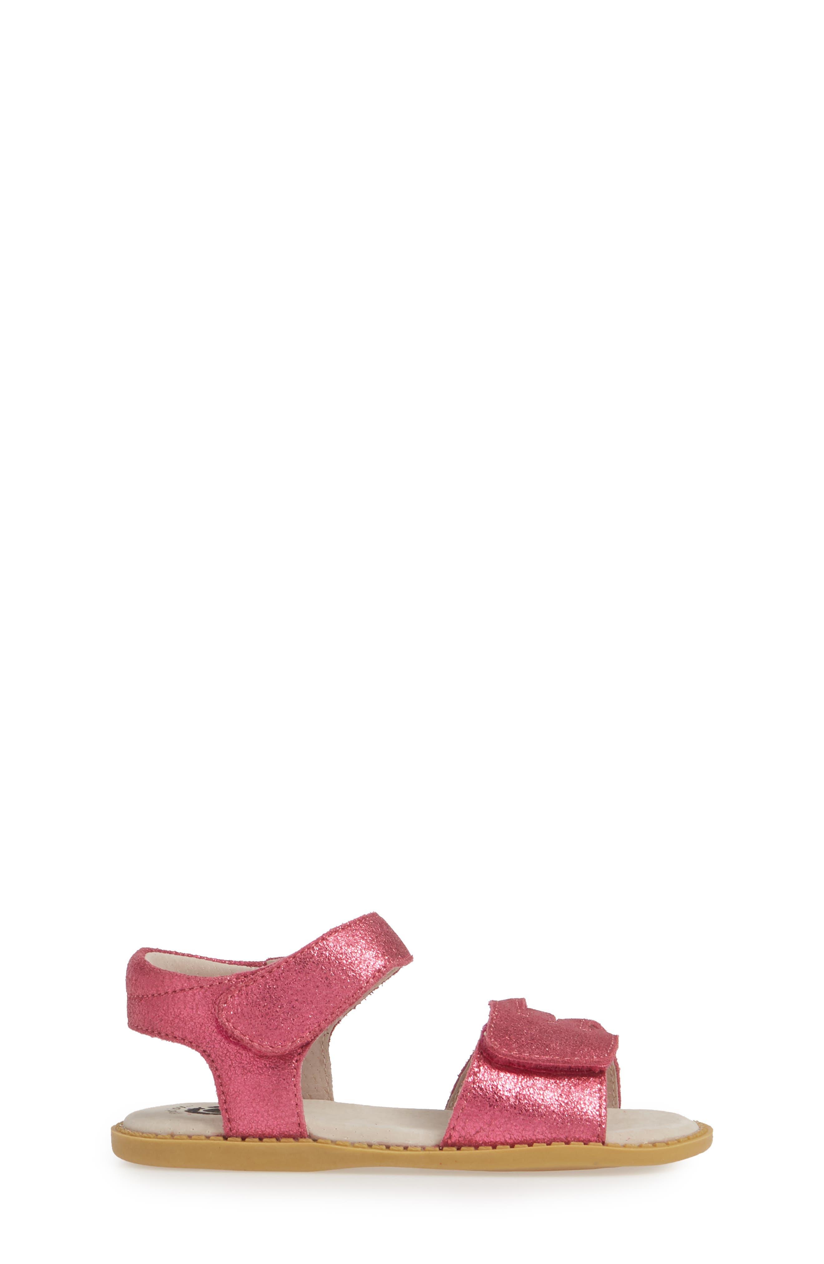 LIVIE & LUCA, 'Athena' Sandal, Alternate thumbnail 3, color, MAGENTA SHIMMER