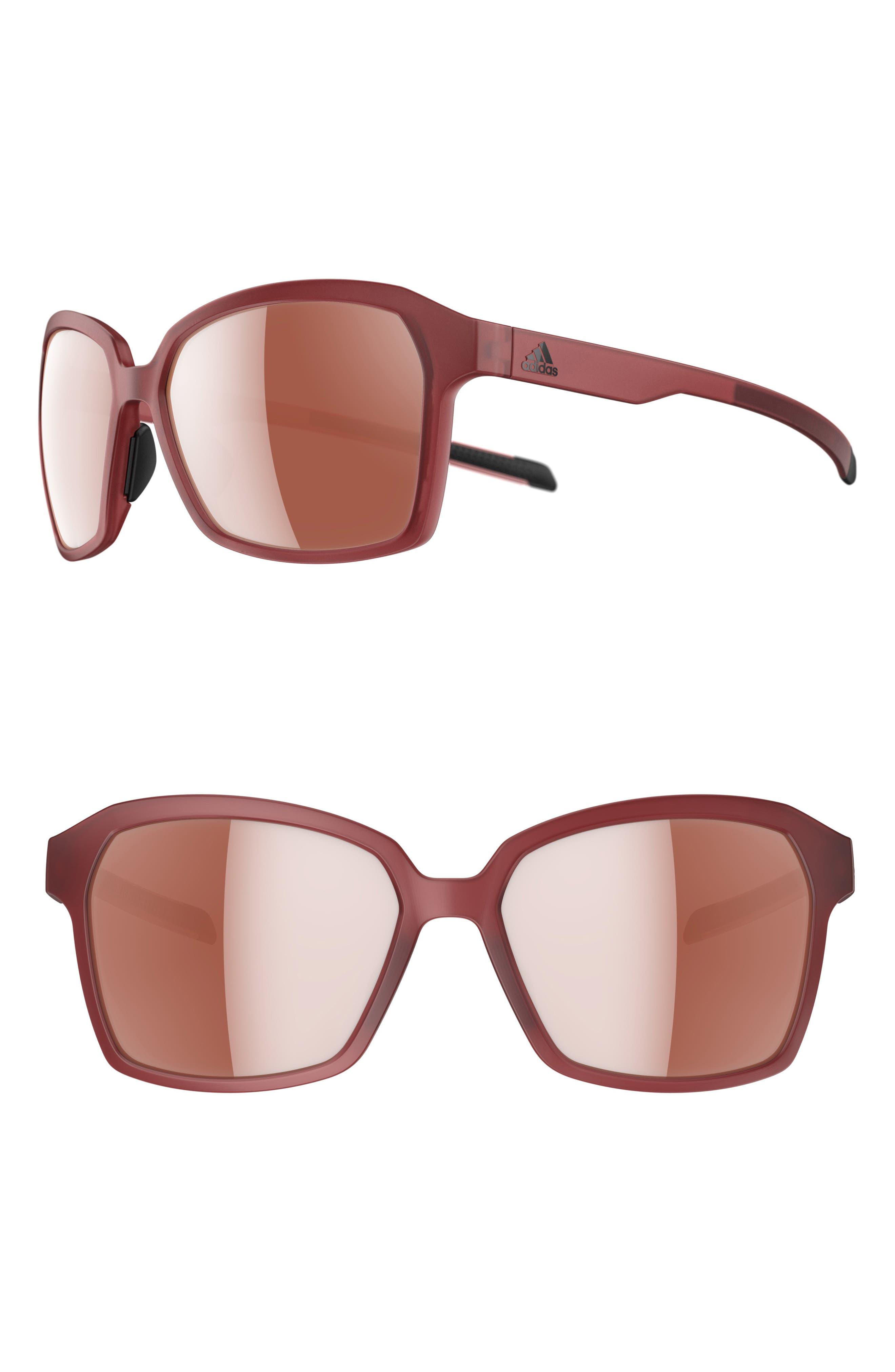 ADIDAS Aspyr Lst 58mm Sunglasses, Main, color, TRACE MAROON MATTE/SILVER