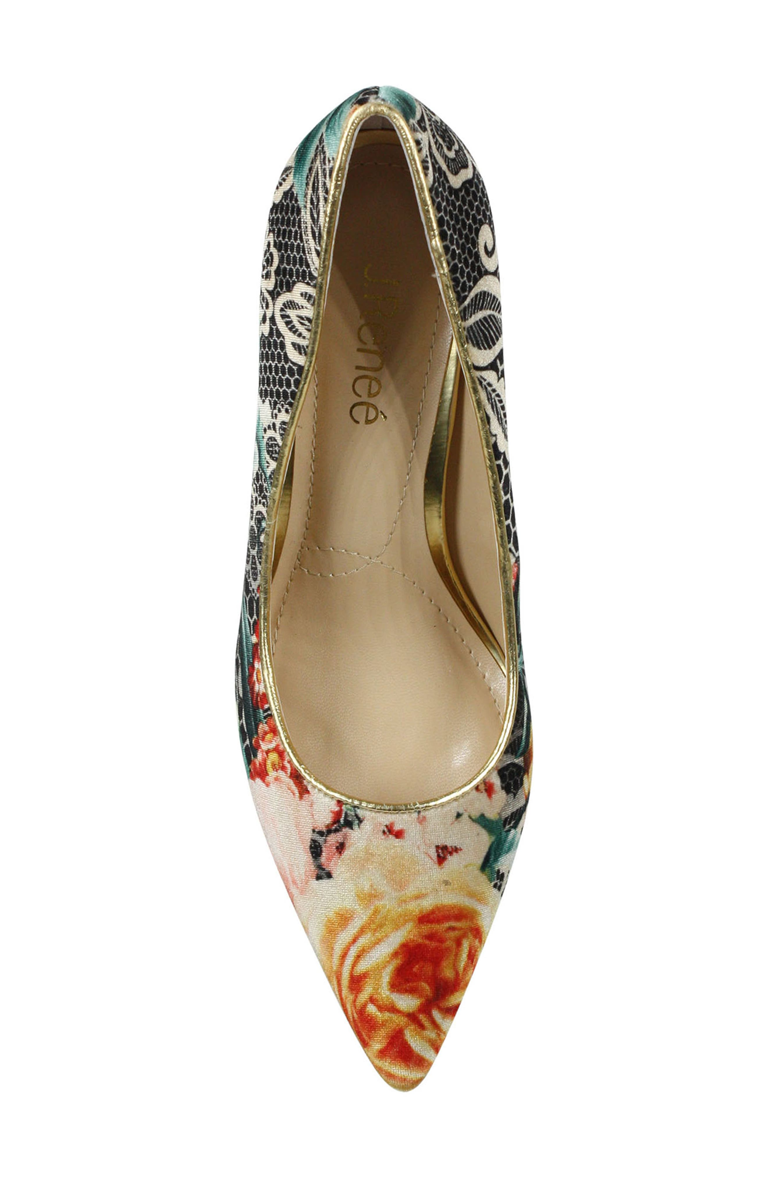 J. RENEÉ, 'Maressa' Pointy Toe Pump, Alternate thumbnail 5, color, BLACK/ TAUPE/ CORAL/ GOLD