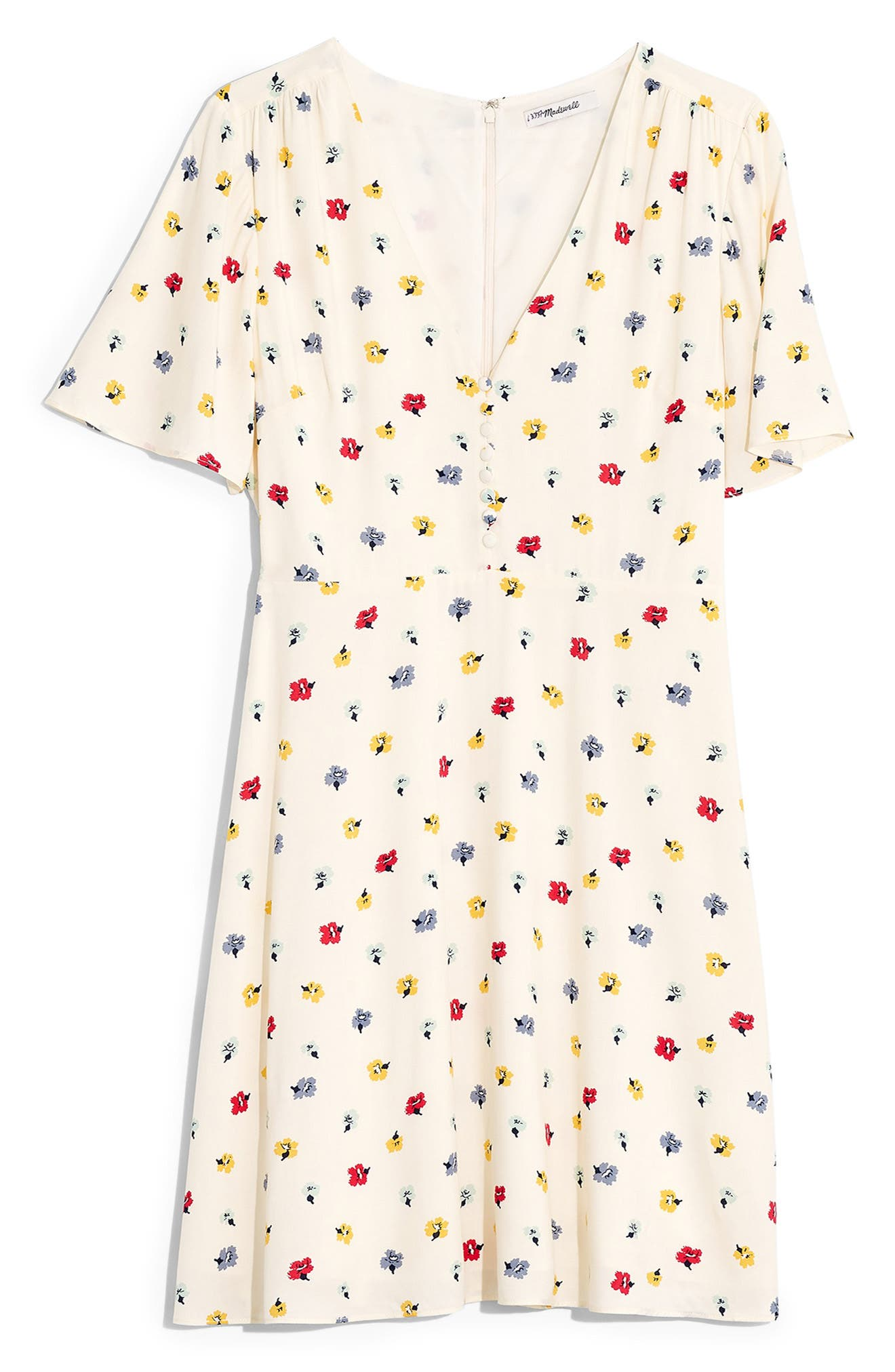 MADEWELL, Orchard Confetti Floral Flutter Sleeve Dress, Alternate thumbnail 6, color, 900