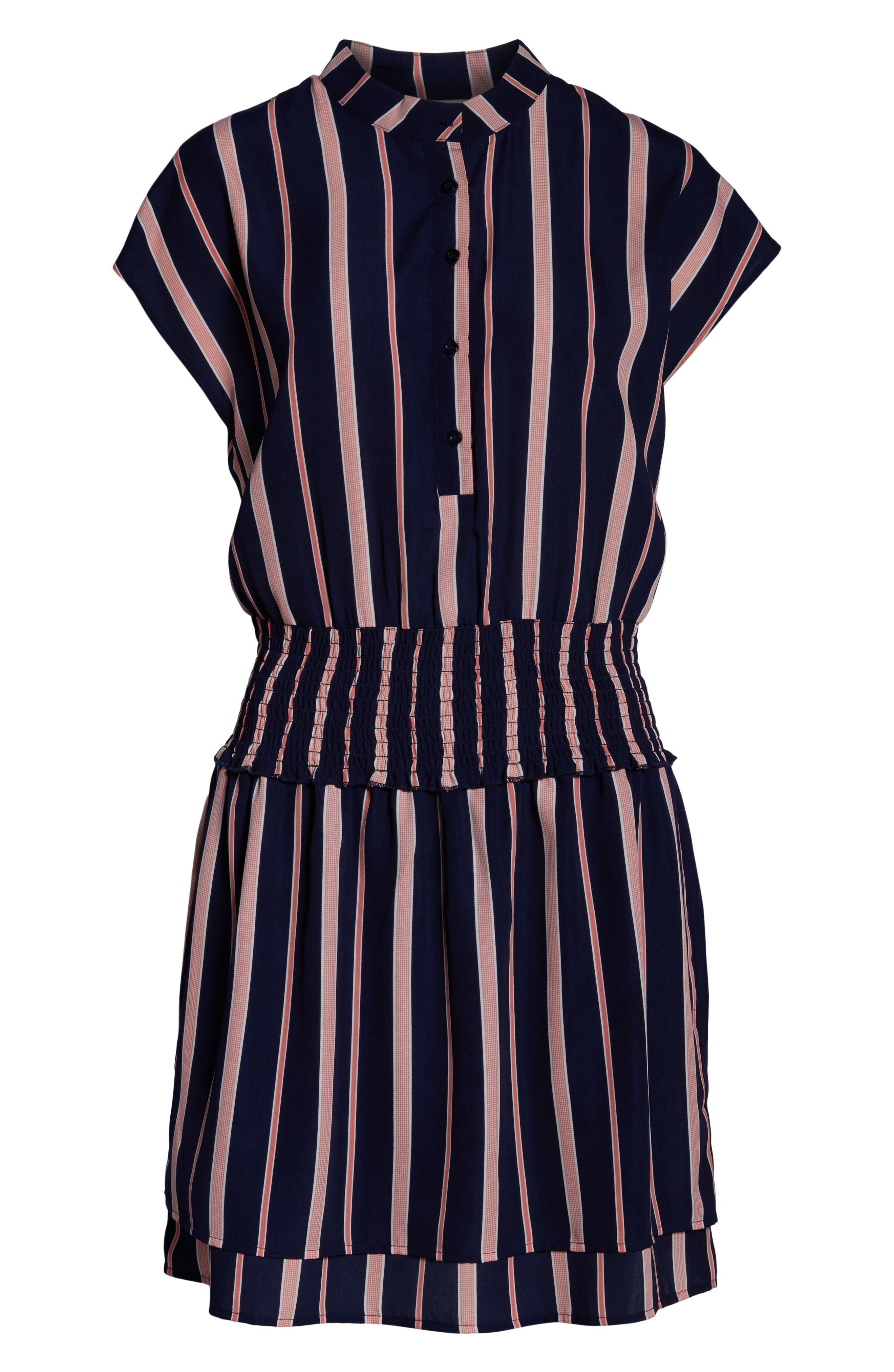 CHARLES HENRY, Smocked Stripe Dress, Alternate thumbnail 7, color, NAVY/ PINK STRIPE