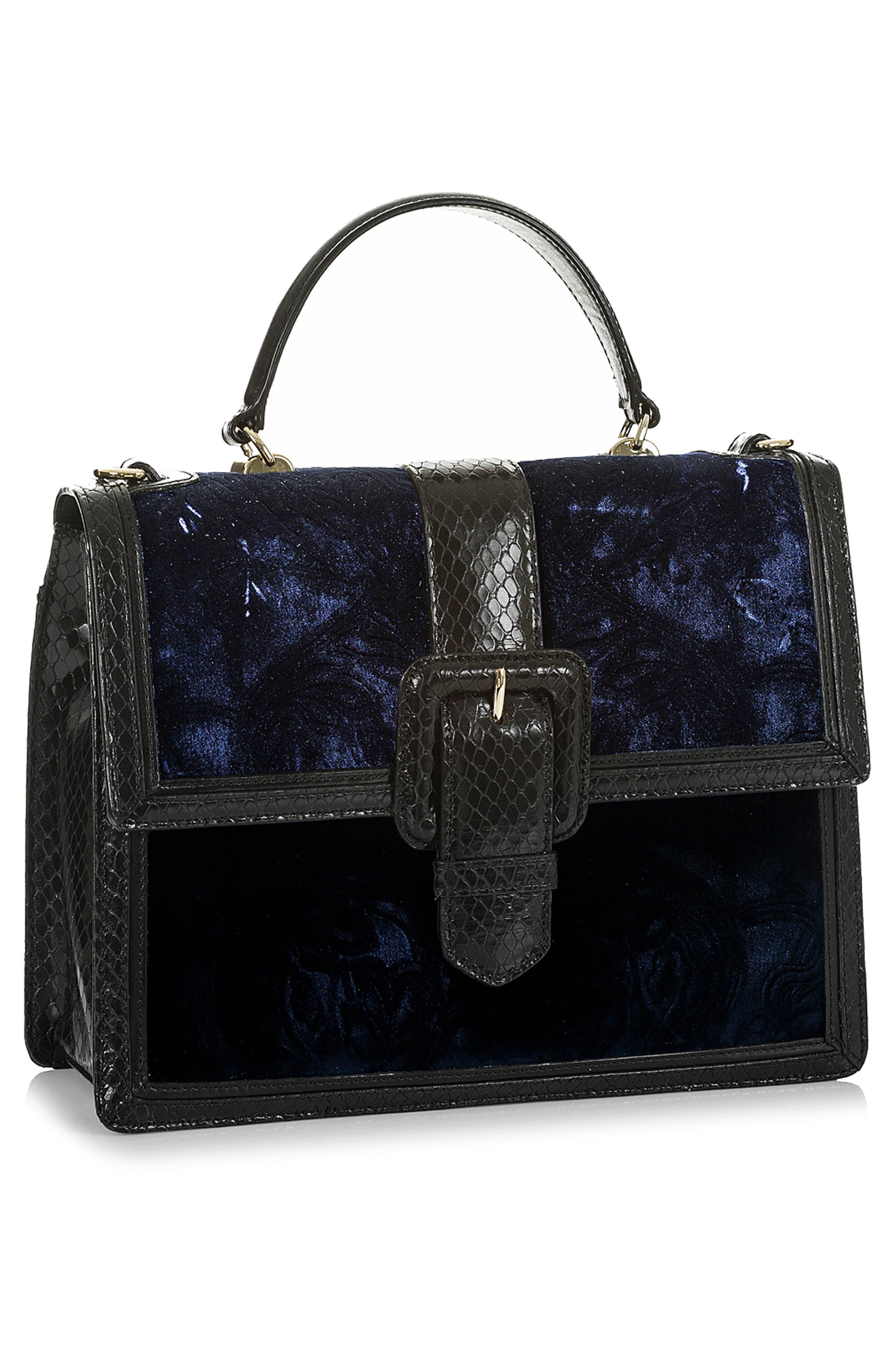 BRAHMIN, Medium Francine Snake Embossed Leather & Velvet Satchel, Alternate thumbnail 4, color, NAVY