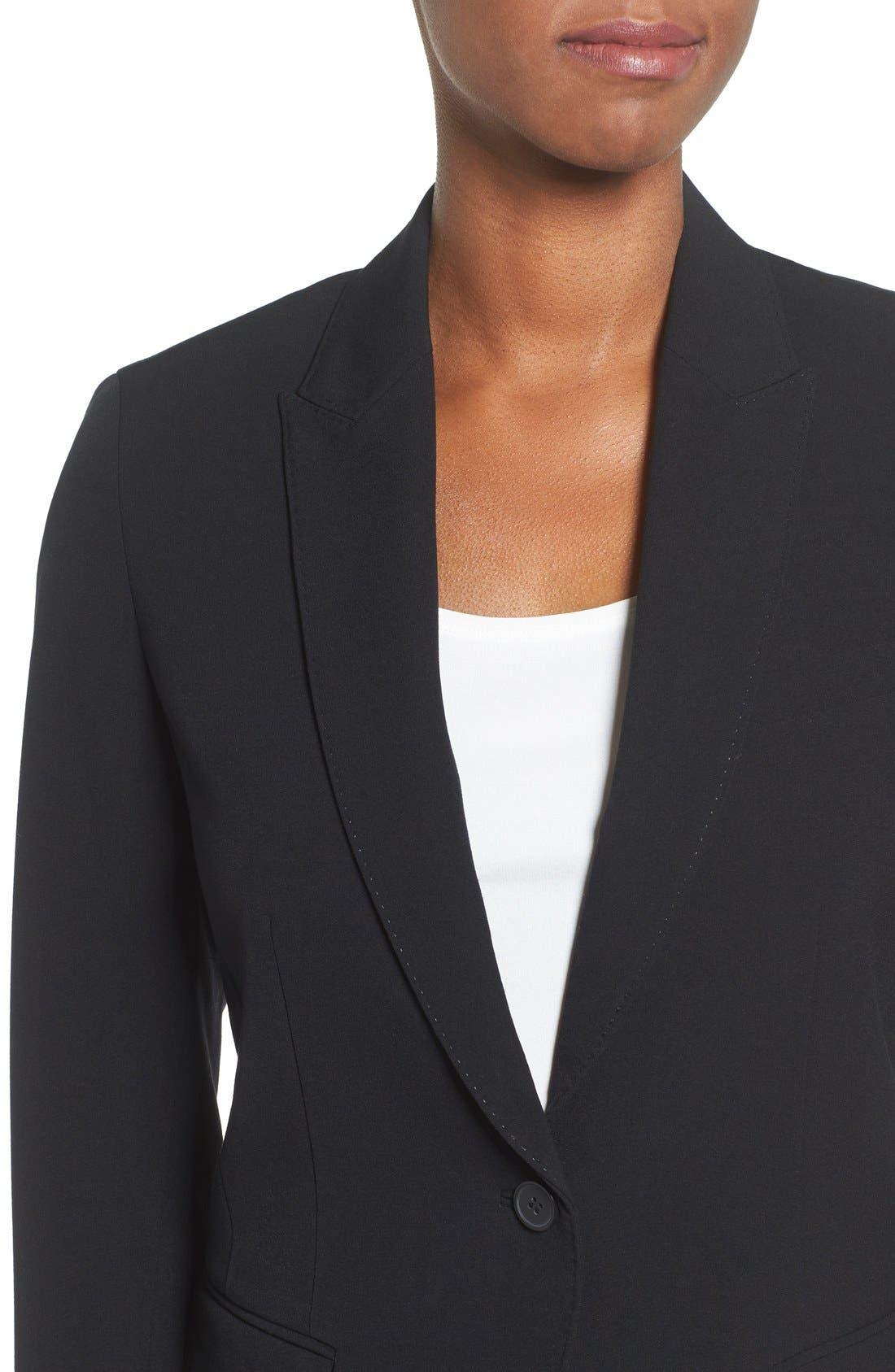 ANNE KLEIN, One-Button Suit Jacket, Alternate thumbnail 4, color, 001
