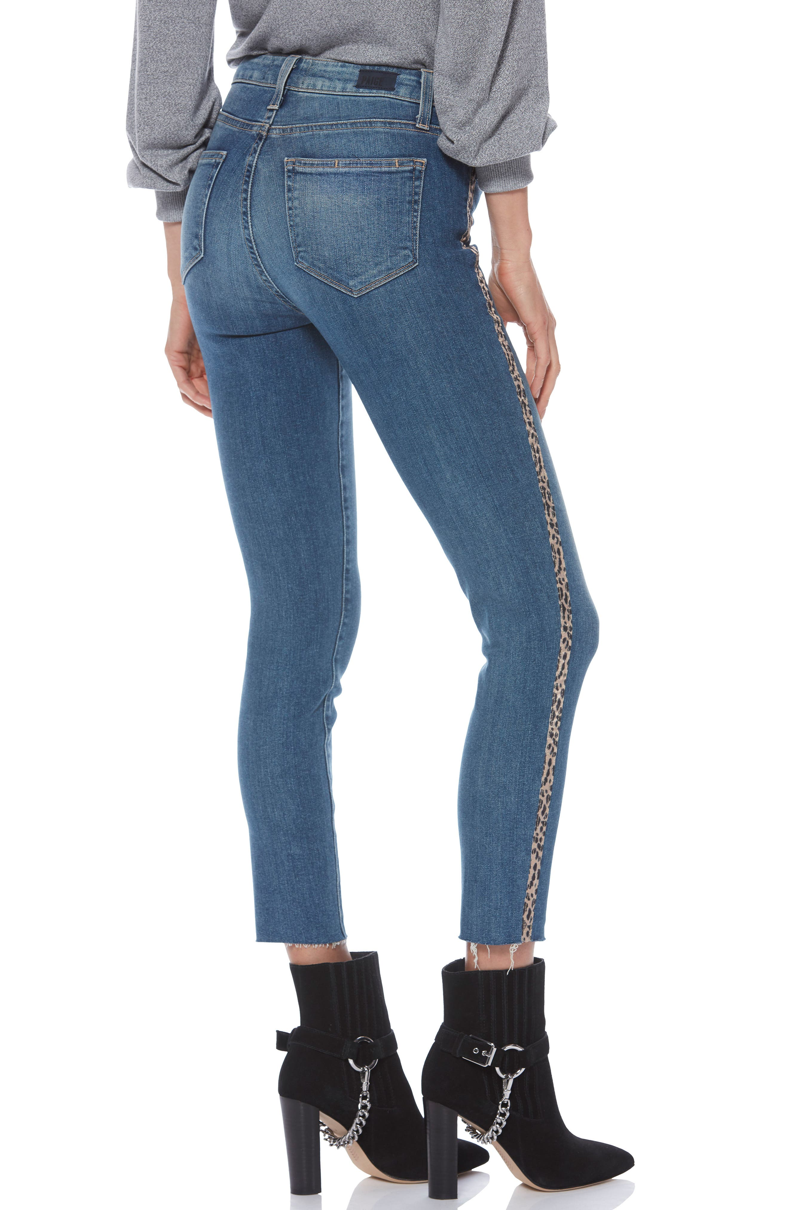 PAIGE, Hoxton High Waist Raw Hem Crop Skinny Jeans, Alternate thumbnail 2, color, BARKLEY W/ LEOPARD
