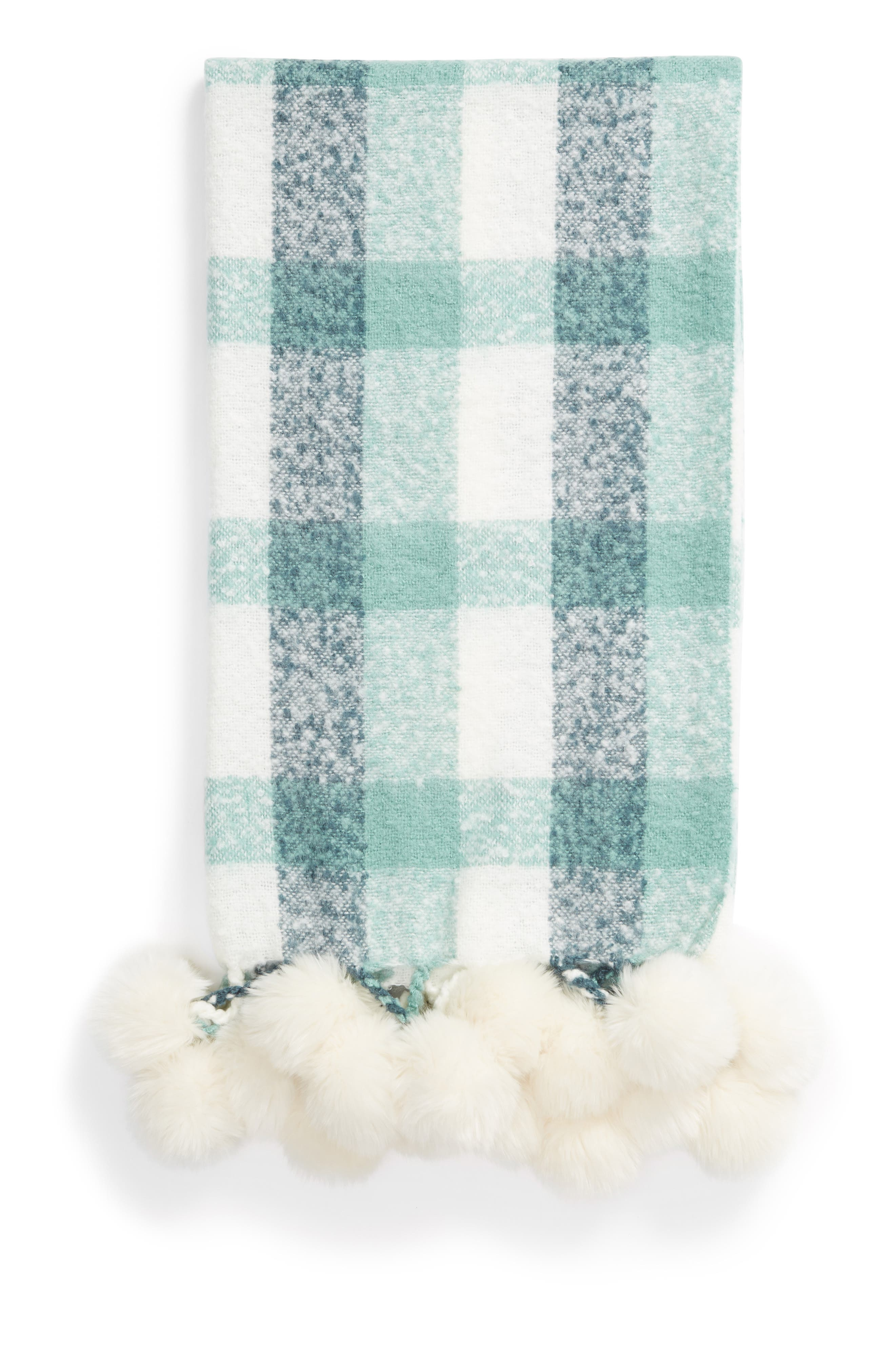 NORDSTROM AT HOME, Faux Fur Throw, Main thumbnail 1, color, GREEN CANTON MULTI