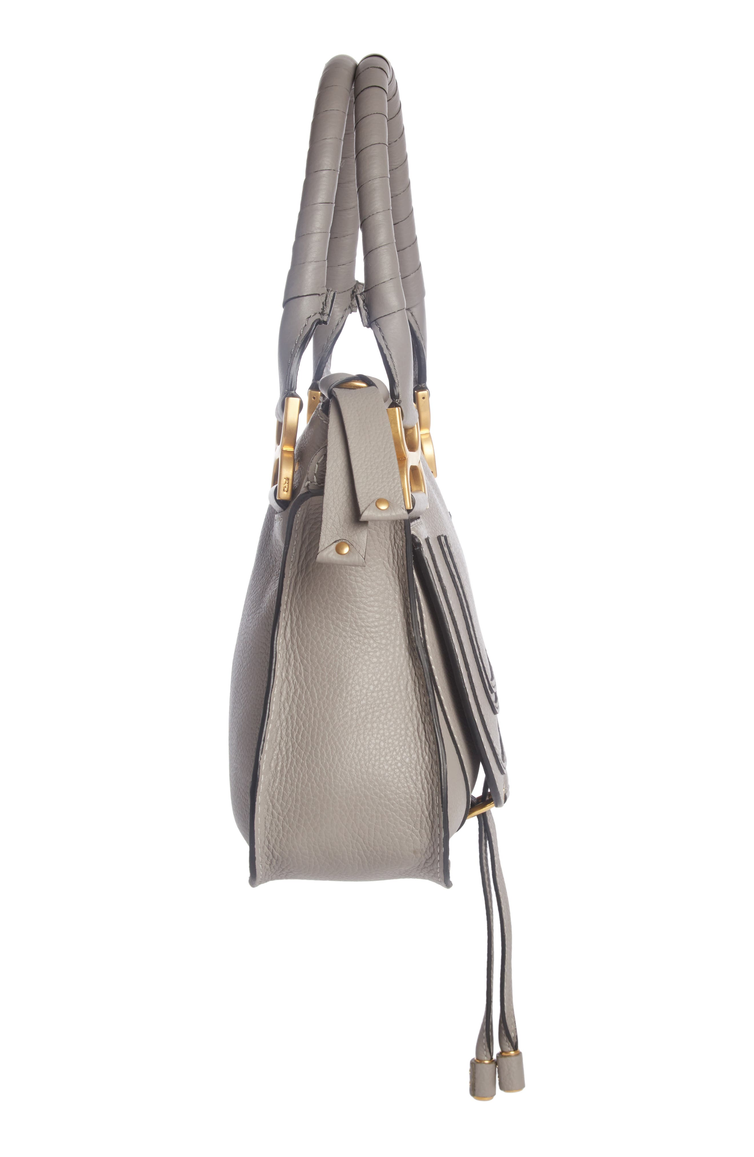 CHLOÉ, Marcie Small Double Carry Bag, Alternate thumbnail 4, color, CASHMERE GREY