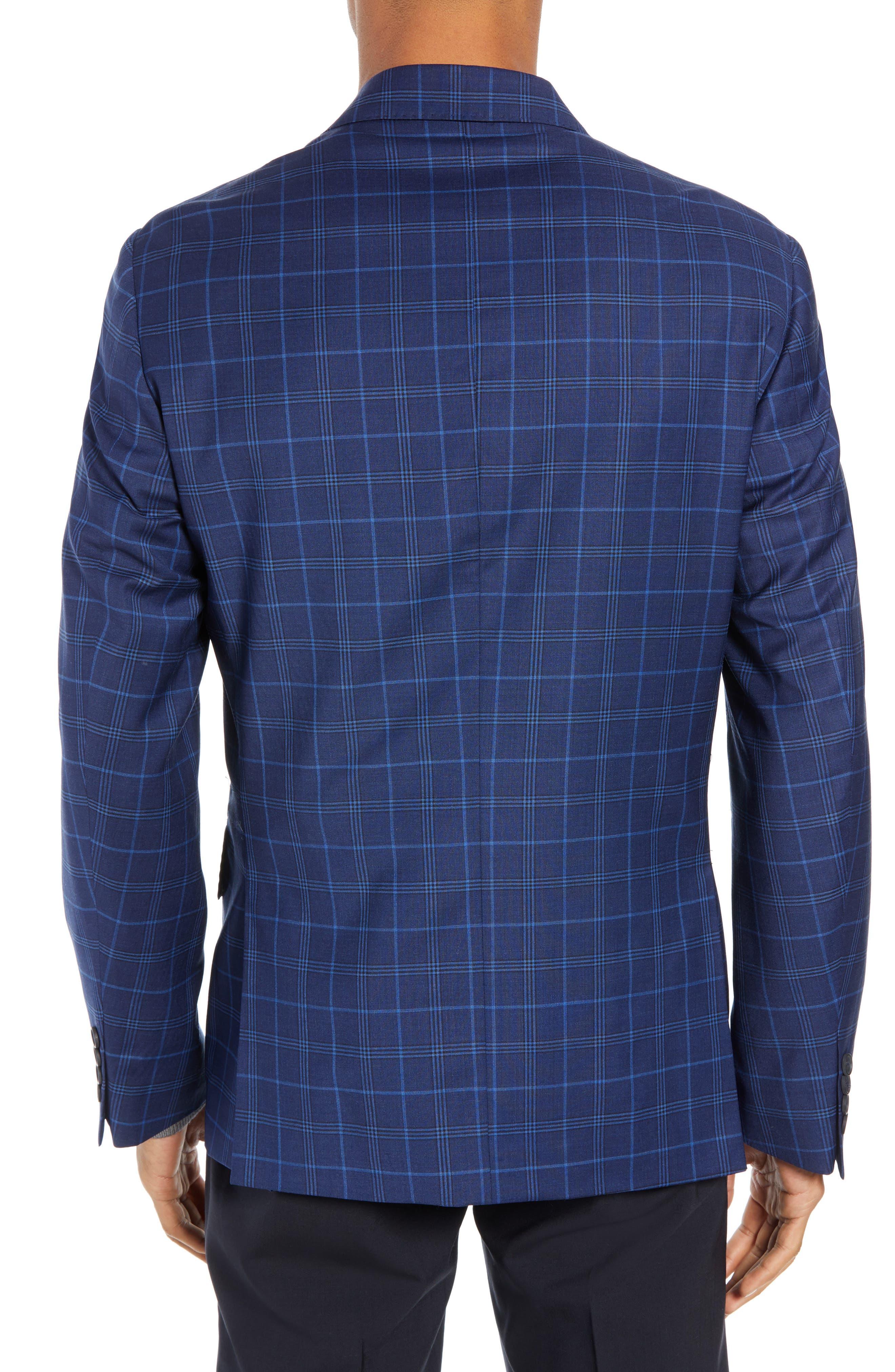 JOHN W. NORDSTROM<SUP>®</SUP>, Traditional Fit Plaid Wool Sport Coat, Alternate thumbnail 2, color, NAVY IRIS BLUE WINDOWPANE