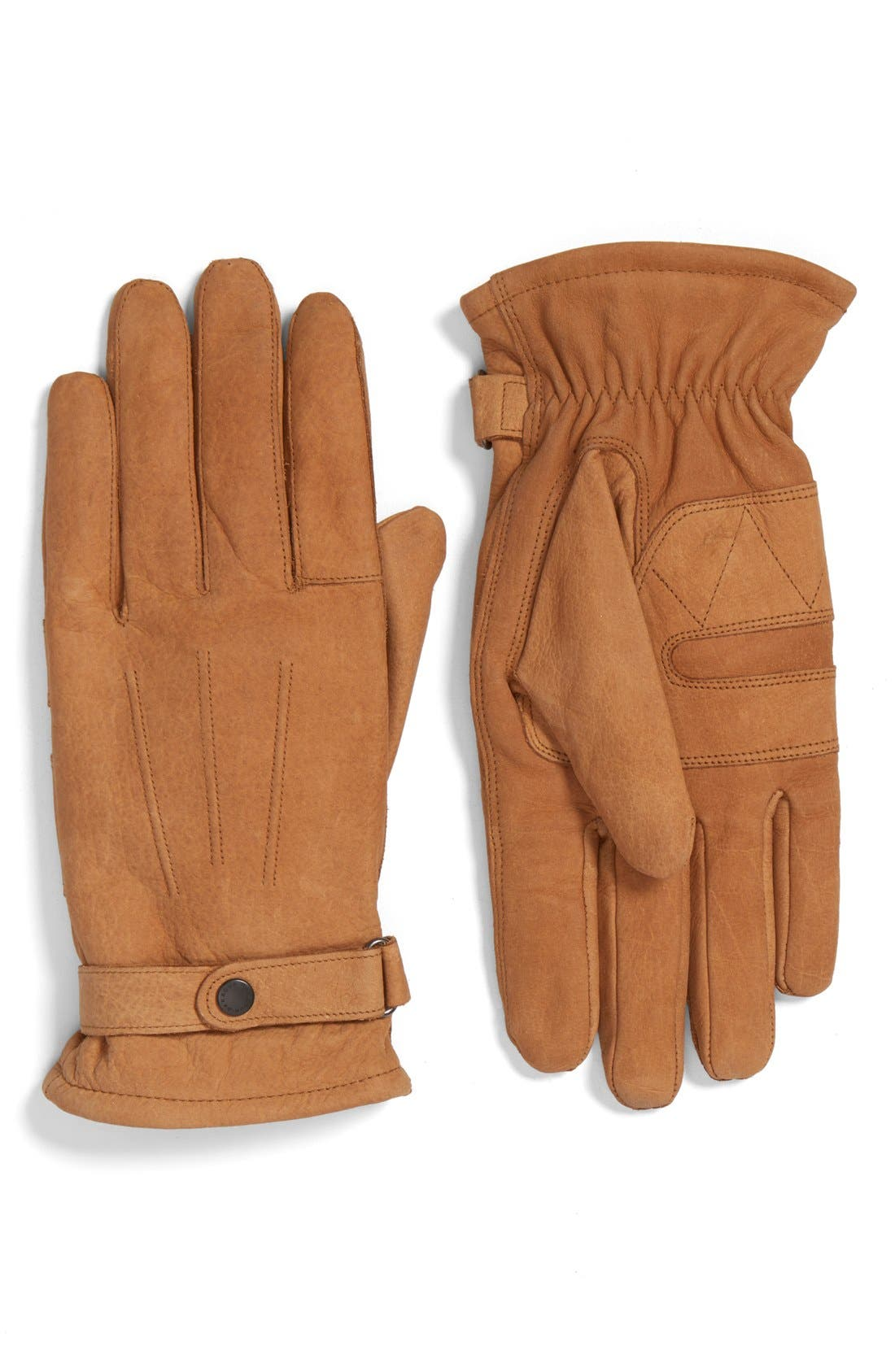 BARBOUR Leather Gloves, Main, color, TAN