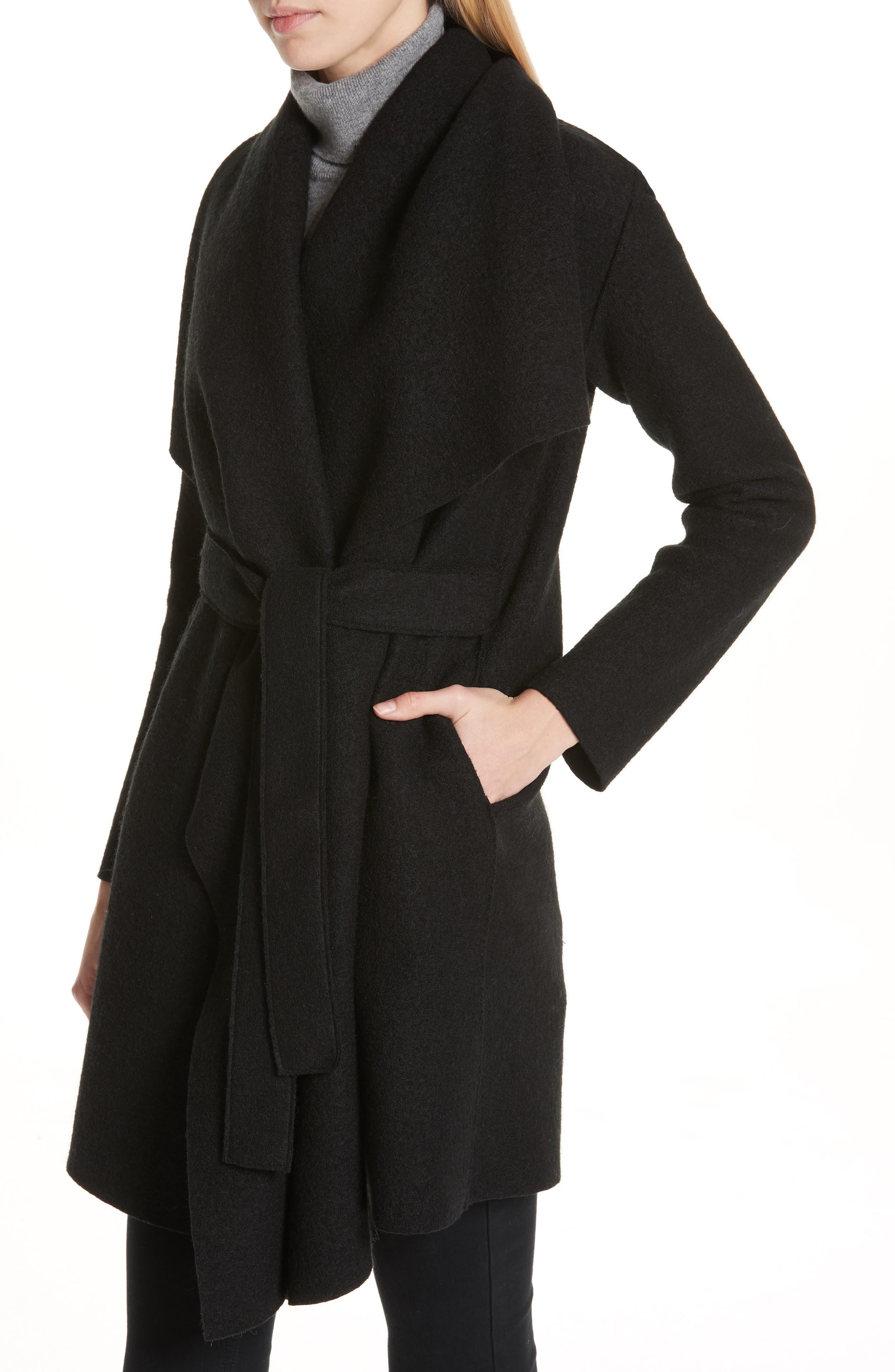 HARRIS WHARF LONDON, Belted Wool Coat, Alternate thumbnail 5, color, BLACK