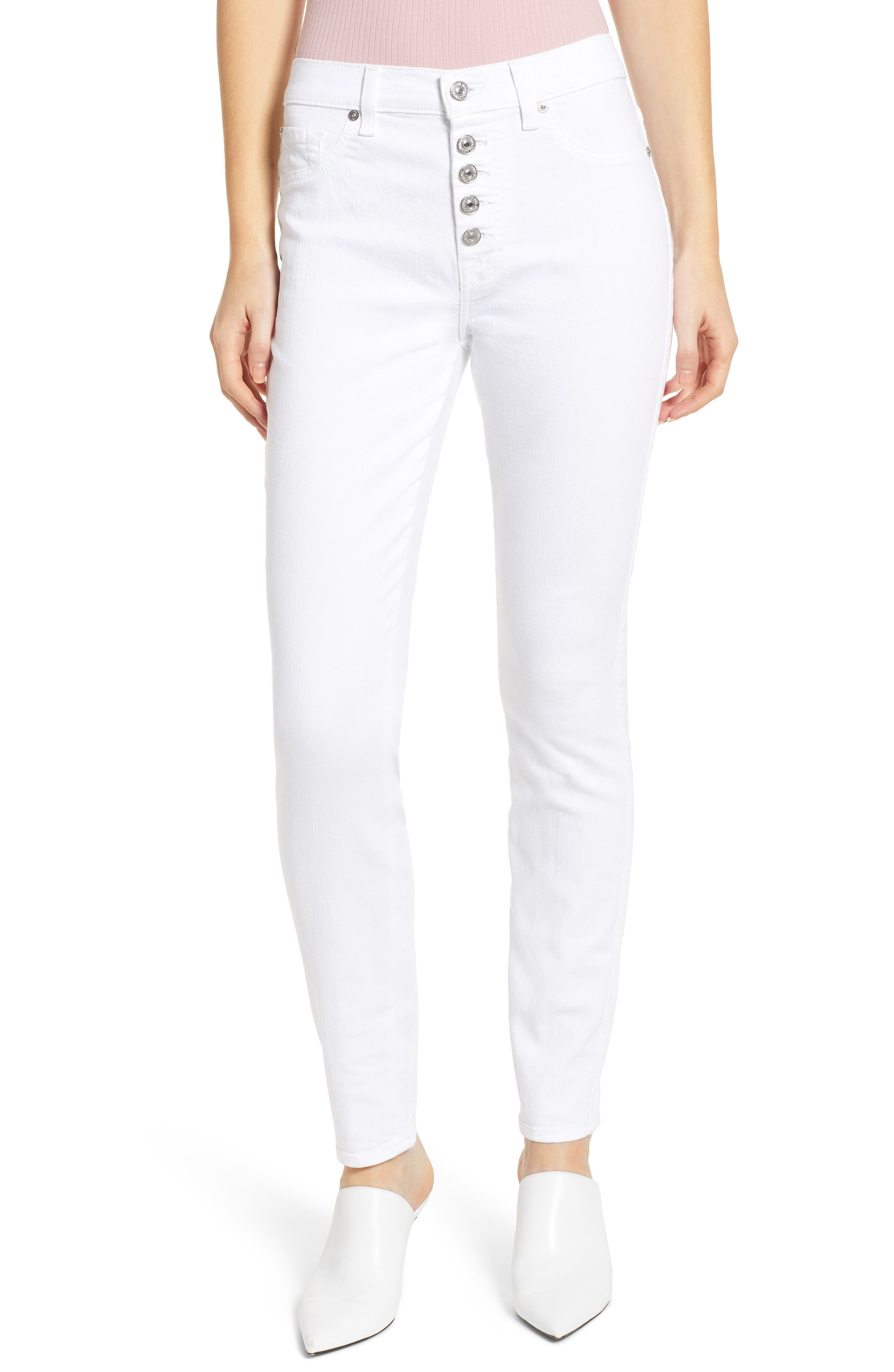 7 FOR ALL MANKIND<SUP>®</SUP> Button Fly High Waist Ankle Skinny Jeans, Main, color, WHITE RUNWAY DENIM