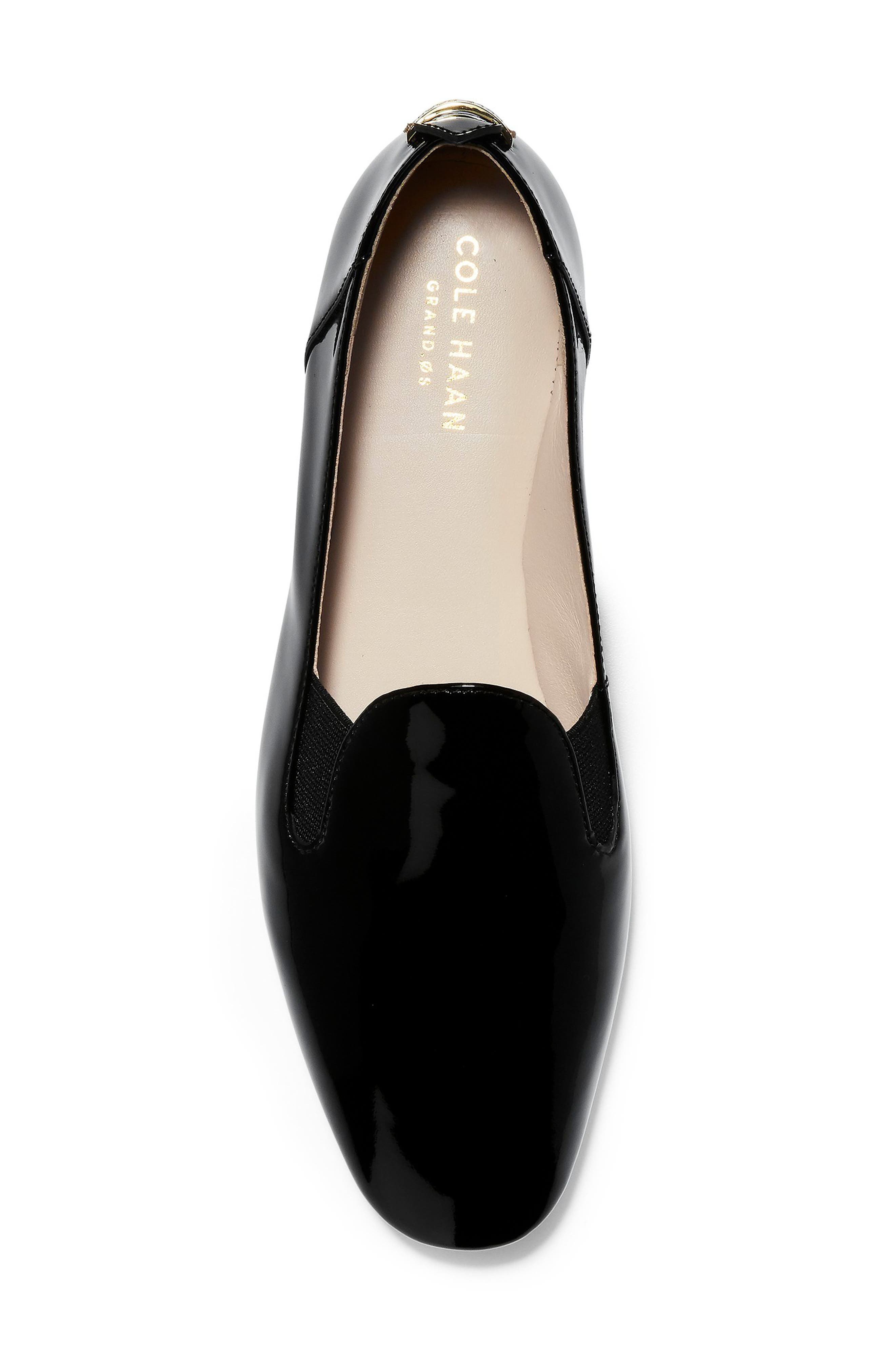 COLE HAAN, Portia Loafer, Alternate thumbnail 5, color, BLACK PATENT LEATHER