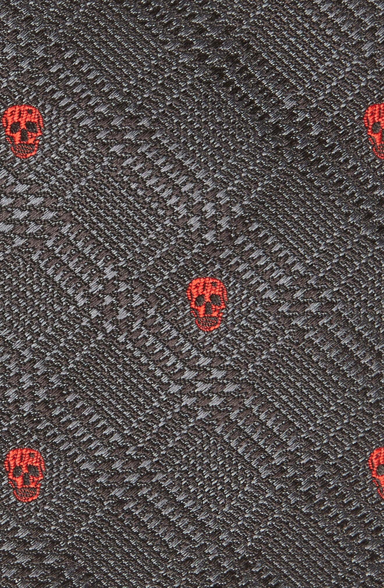 ALEXANDER MCQUEEN, Woven Silk Tie, Alternate thumbnail 2, color, BLACK AND RED