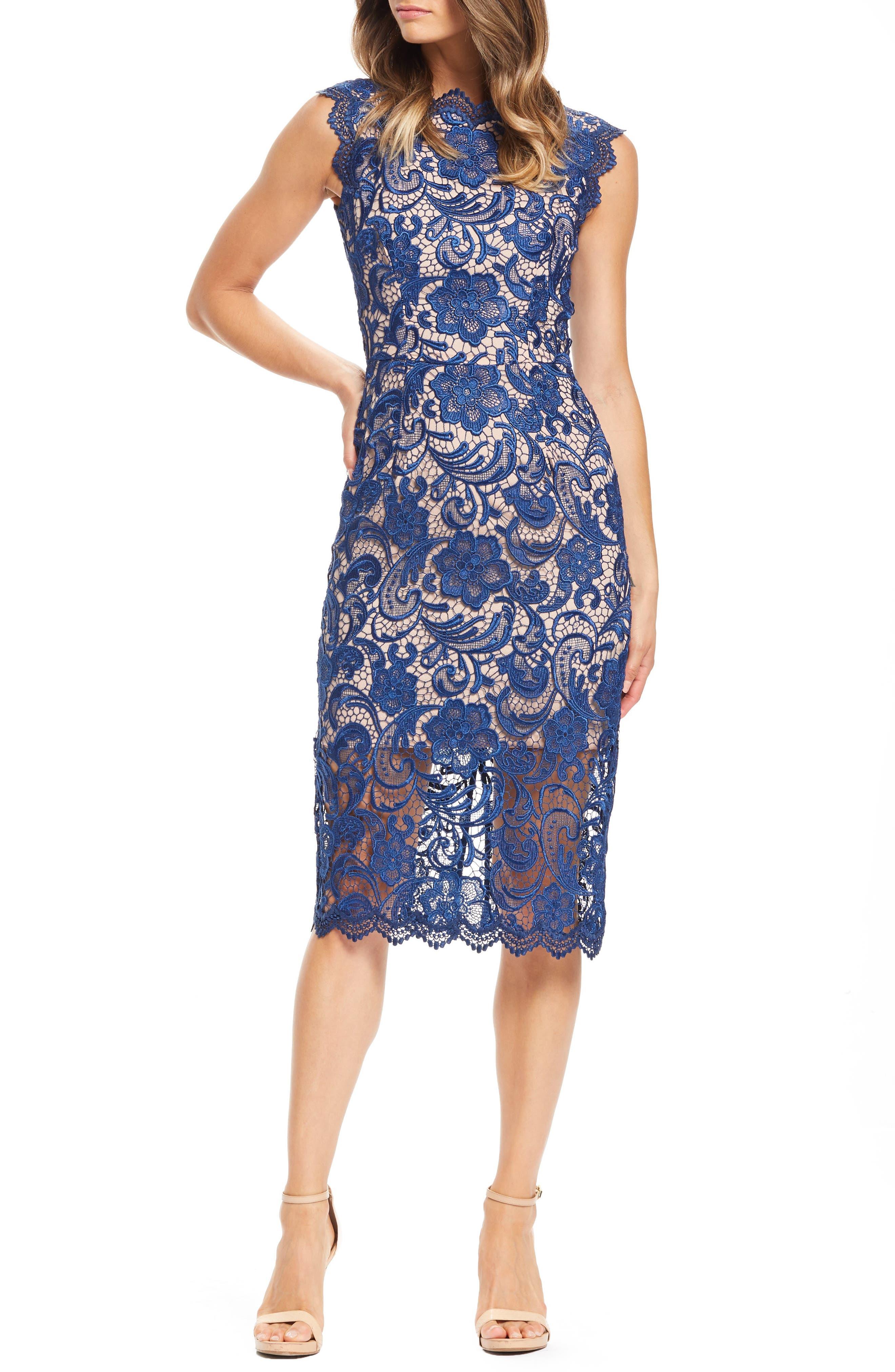 Dress The Population Claudette Crochet Lace Sheath Dress, Blue