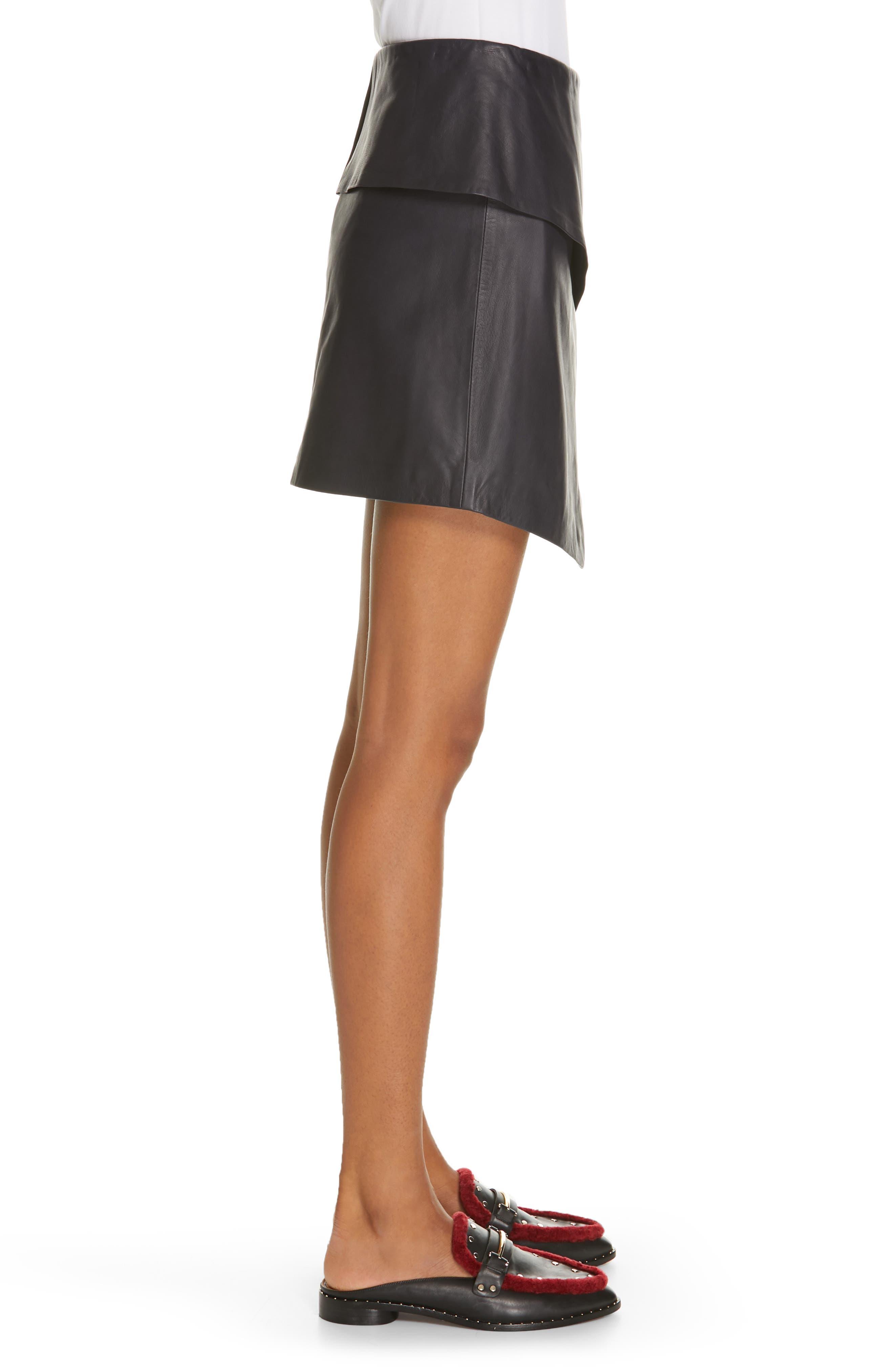 JOIE, Akirako Leather Miniskirt, Alternate thumbnail 3, color, MIDNIGHT