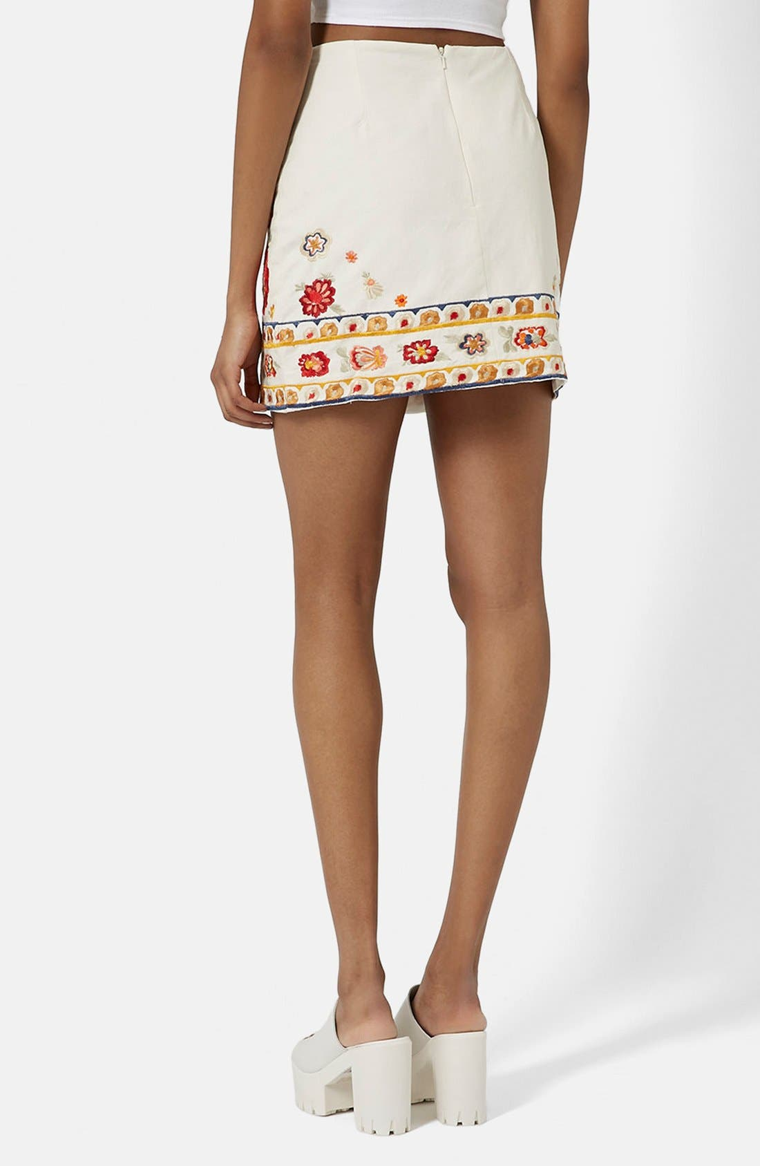 TOPSHOP, 'Troubadour' Embroidered Miniskirt, Alternate thumbnail 3, color, 900