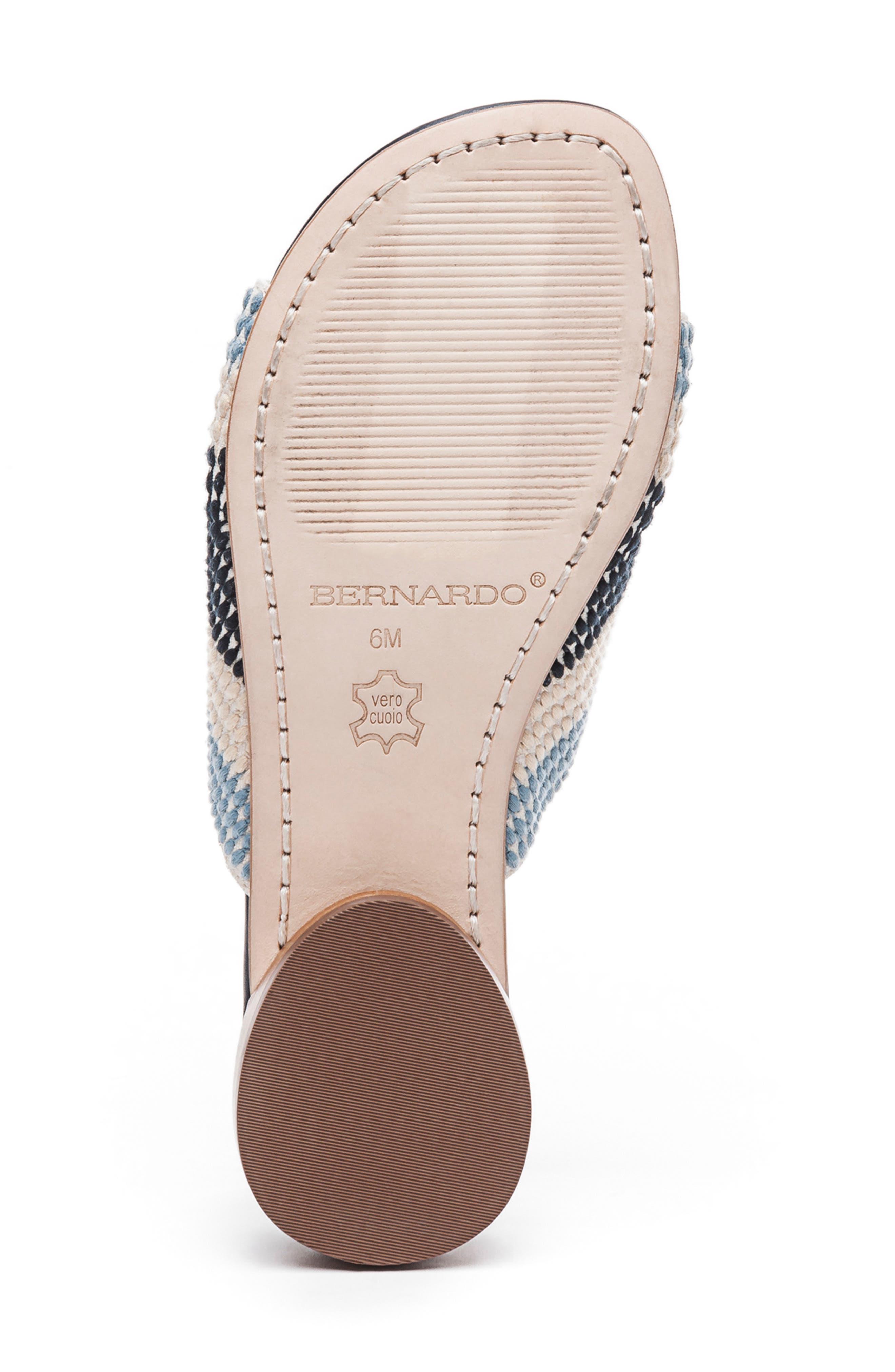 BERNARDO, Footwear Tay Slide Sandal, Alternate thumbnail 6, color, BLUE/ CREAM LEATHER