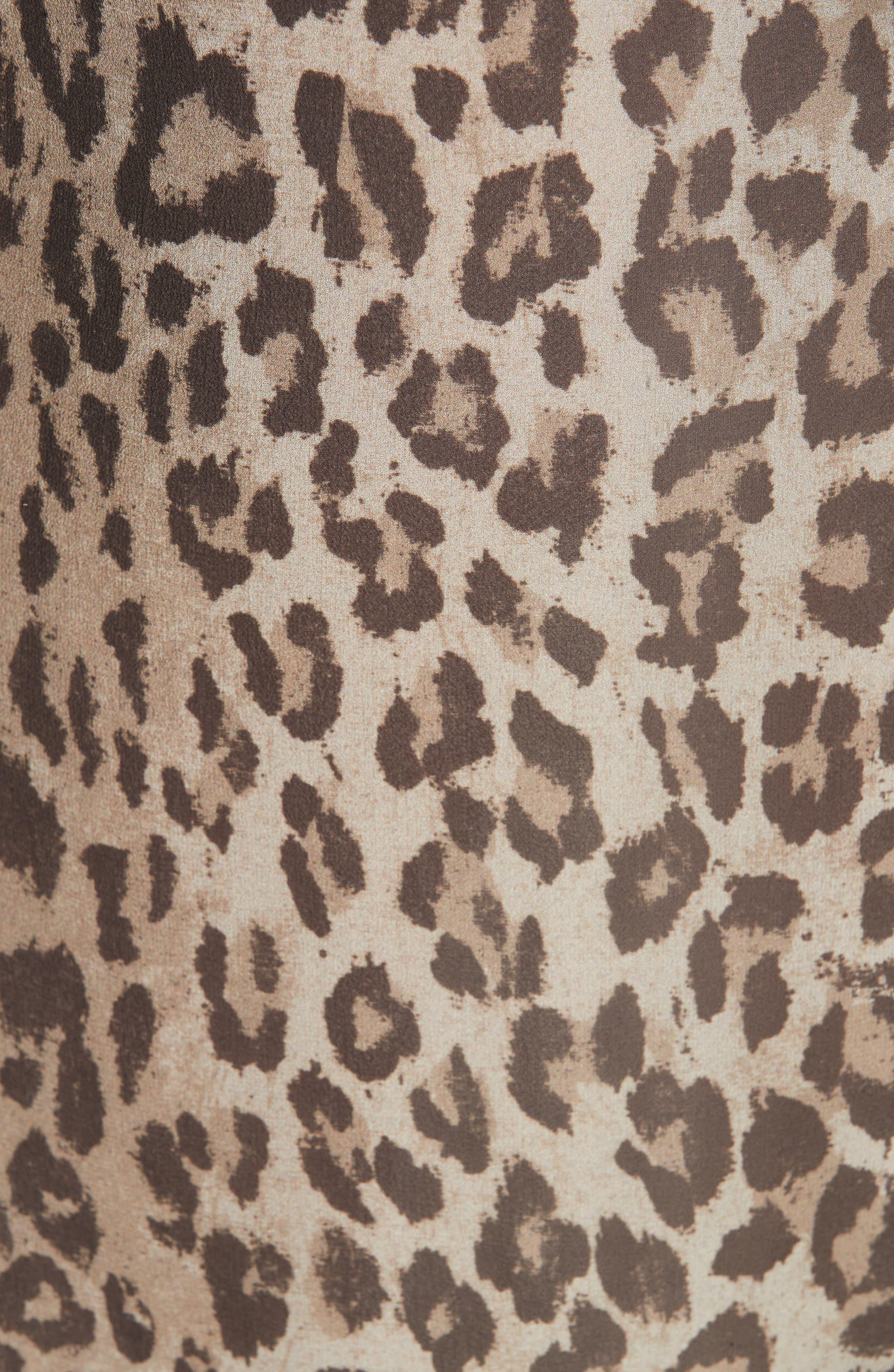 NICHOLAS, Ruched Leopard Print Silk Dress, Alternate thumbnail 5, color, 200