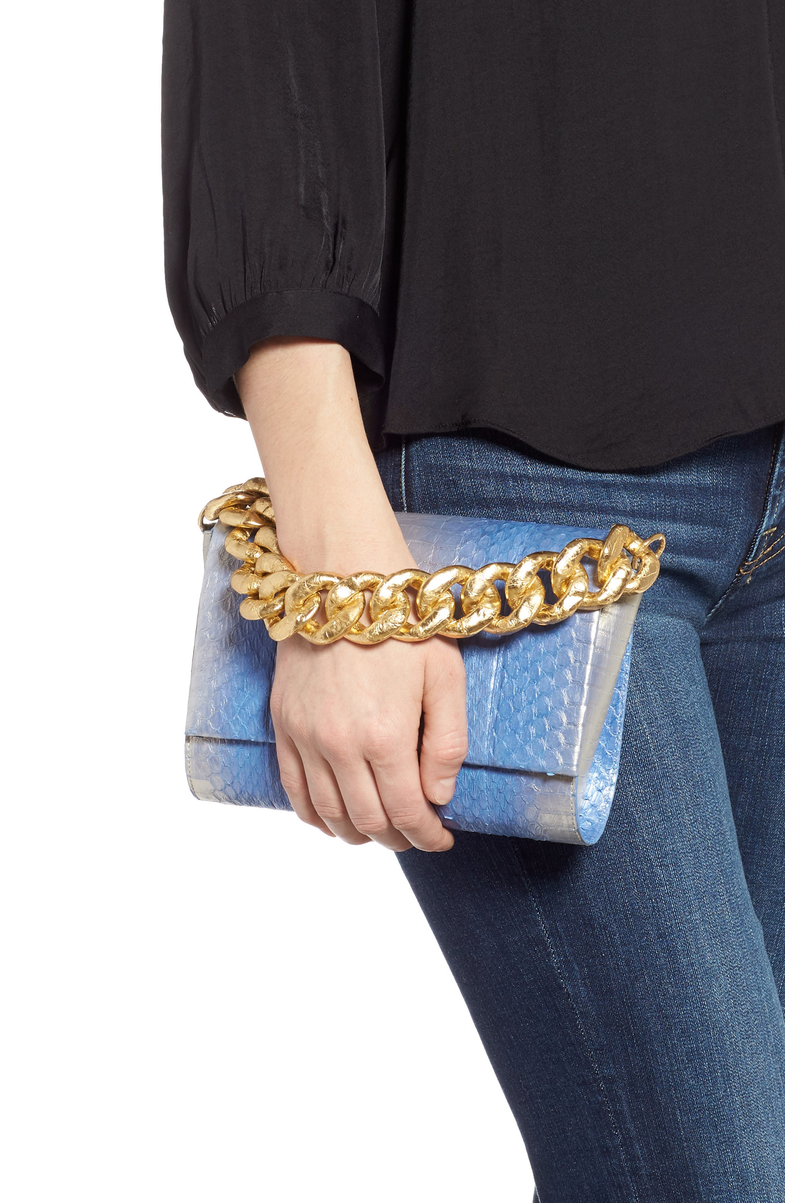 NANCY GONZALEZ, Small Carrie Genuine Crocodile Clutch, Alternate thumbnail 2, color, SILVER/ BLUE DEGRADE/ GOLD