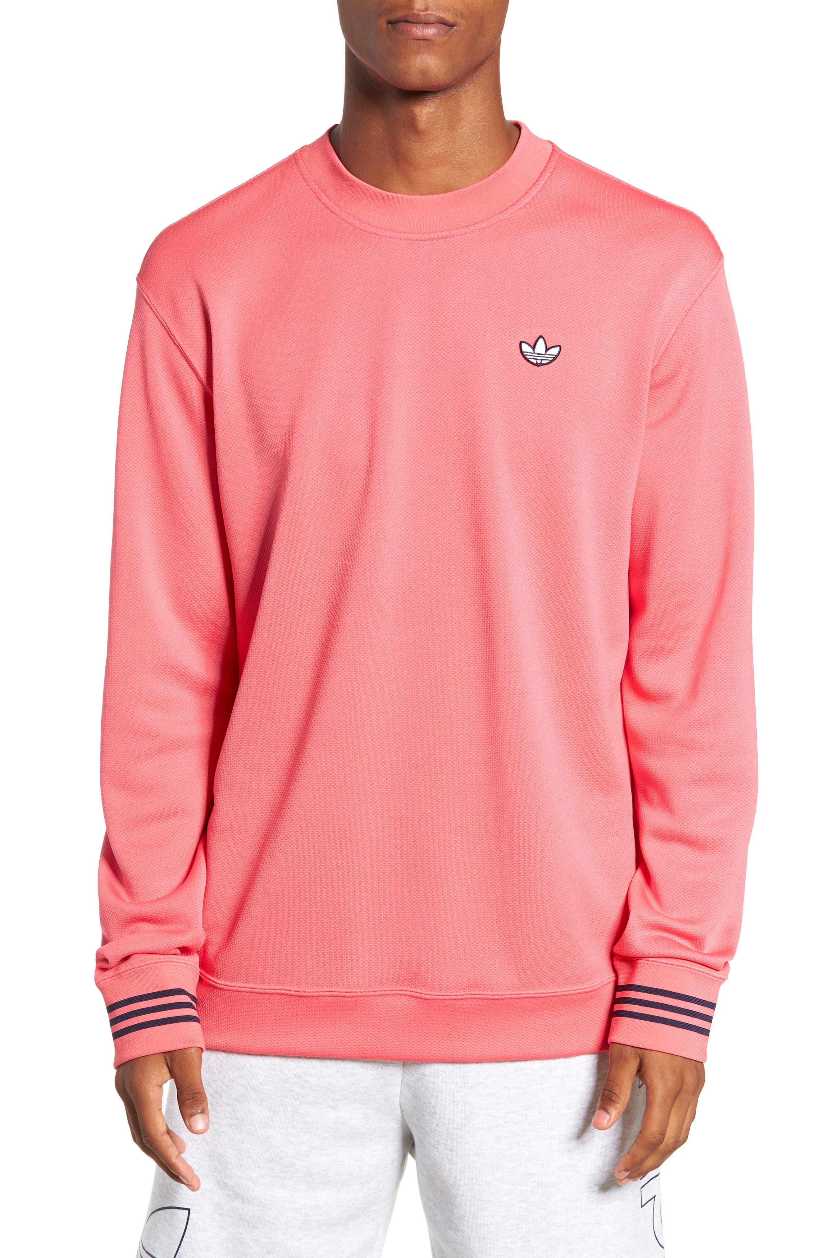 ADIDAS ORIGINALS, Piqué Long Sleeve T-Shirt, Main thumbnail 1, color, REAL PINK