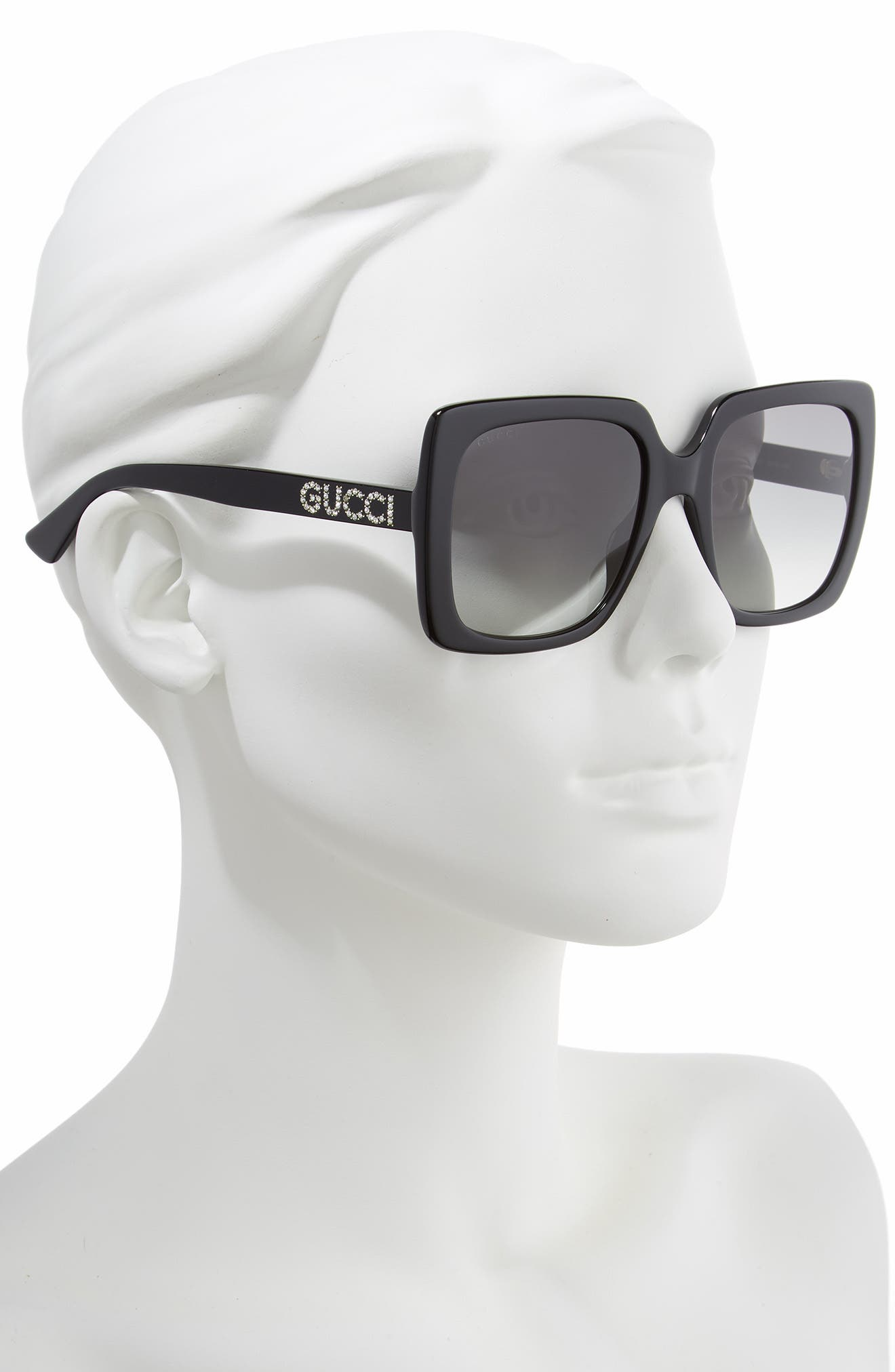 GUCCI, 54mm Gradient Square Sunglasses, Alternate thumbnail 2, color, BLACK/ CRYSTAL/ GREY GRADIENT