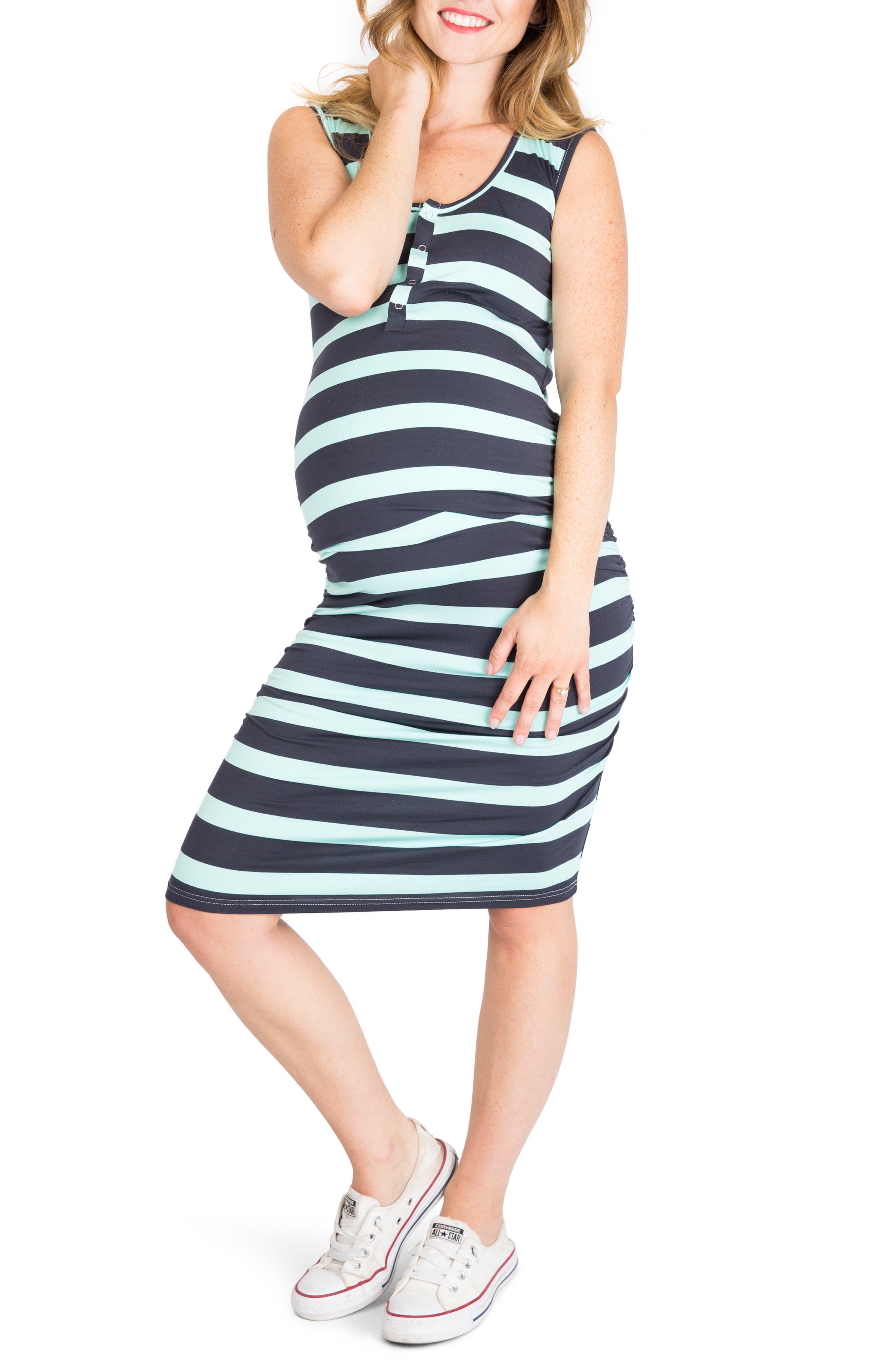 Nom Maternity Sleeveless Maternity/nursing Dress, Grey