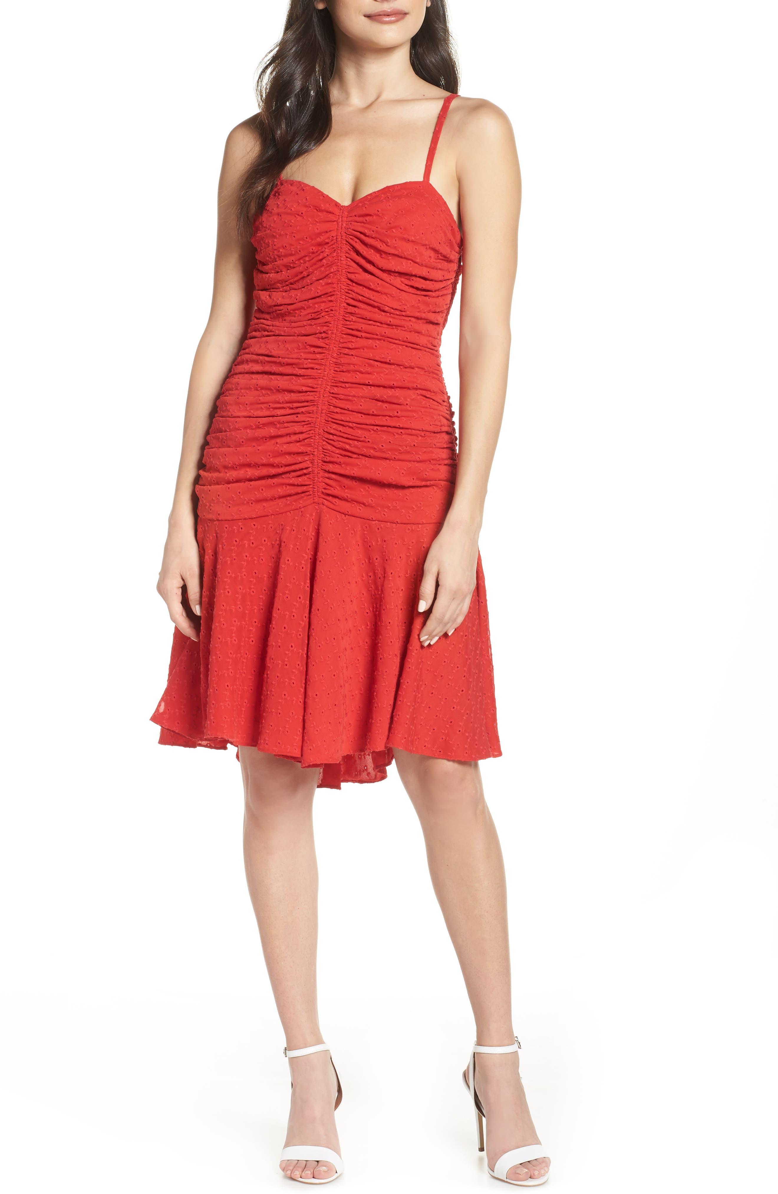 Jill Jill Stuart Ruched Eyelet Dress, Red