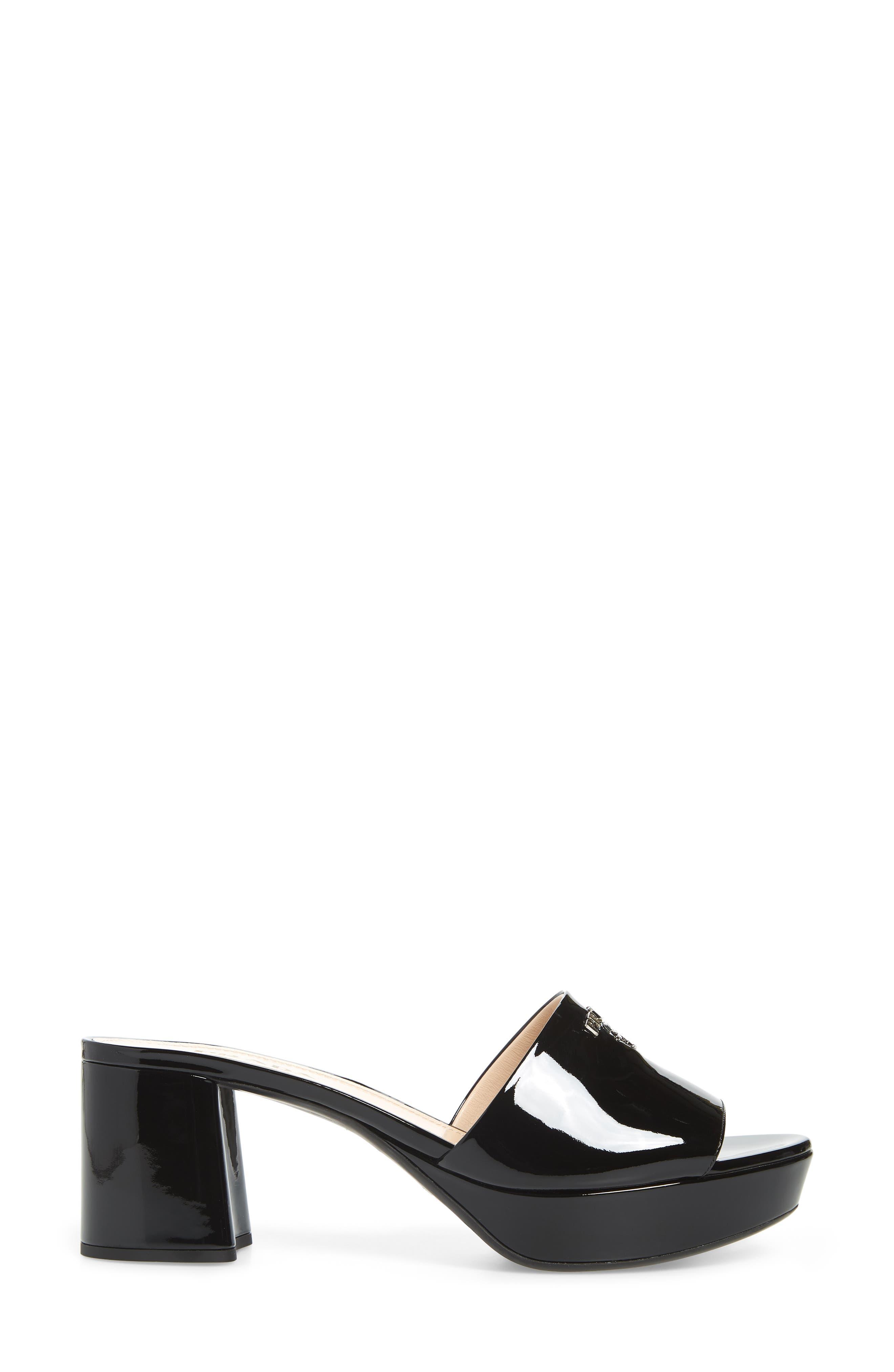PRADA, Platform Slide Sandal, Alternate thumbnail 3, color, BLACK PATENT