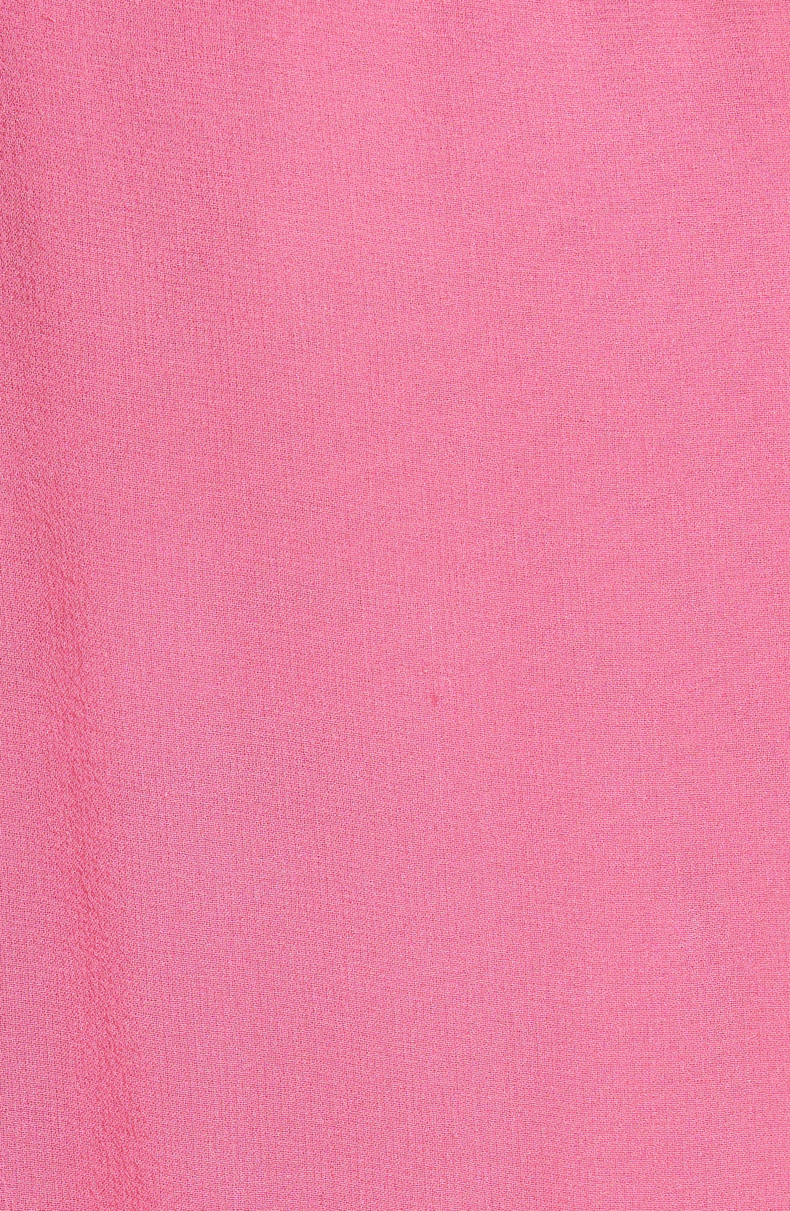 SALONI, Isa Beaded Colorblock Silk Midi Dress, Alternate thumbnail 5, color, PINK/ CHERRY