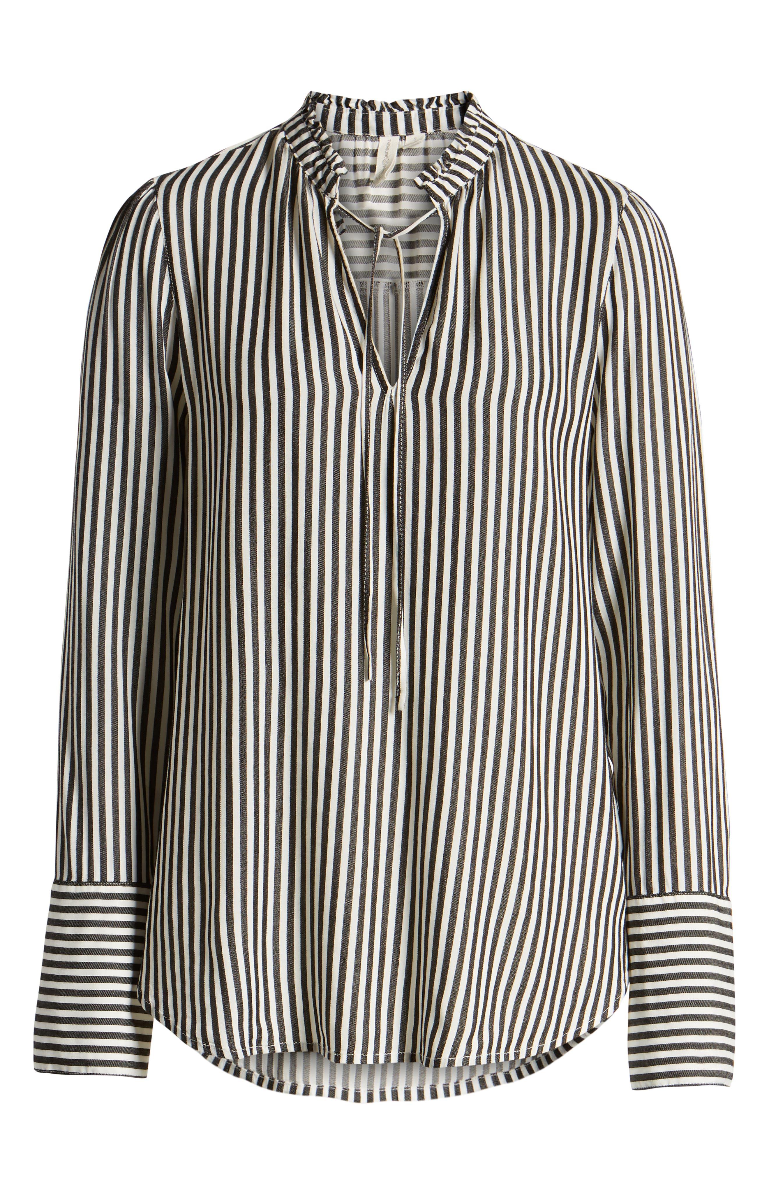 TREASURE & BOND, Stripe Ruffle Neck Shirt, Alternate thumbnail 6, color, BLACK- WHITE SARA STRIPE