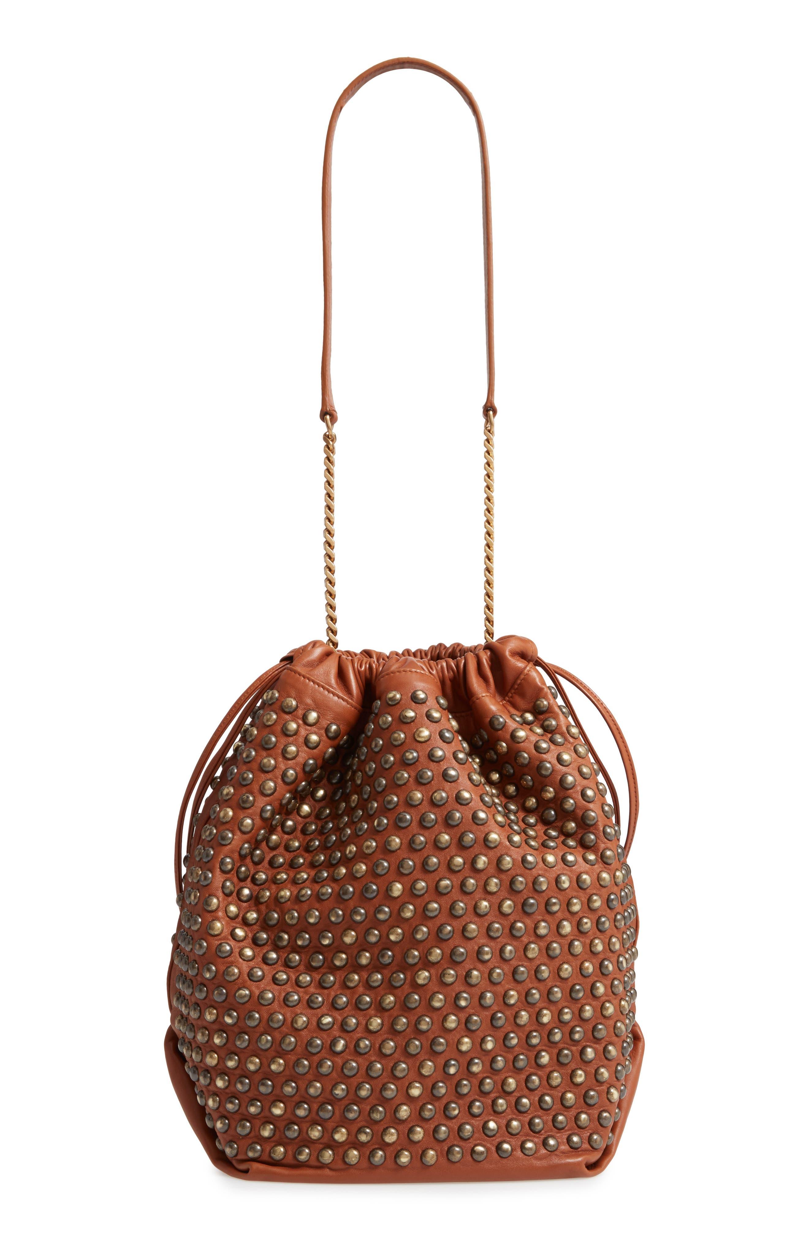 SAINT LAURENT, Teddy Studded Leather Bucket Bag, Alternate thumbnail 3, color, 200