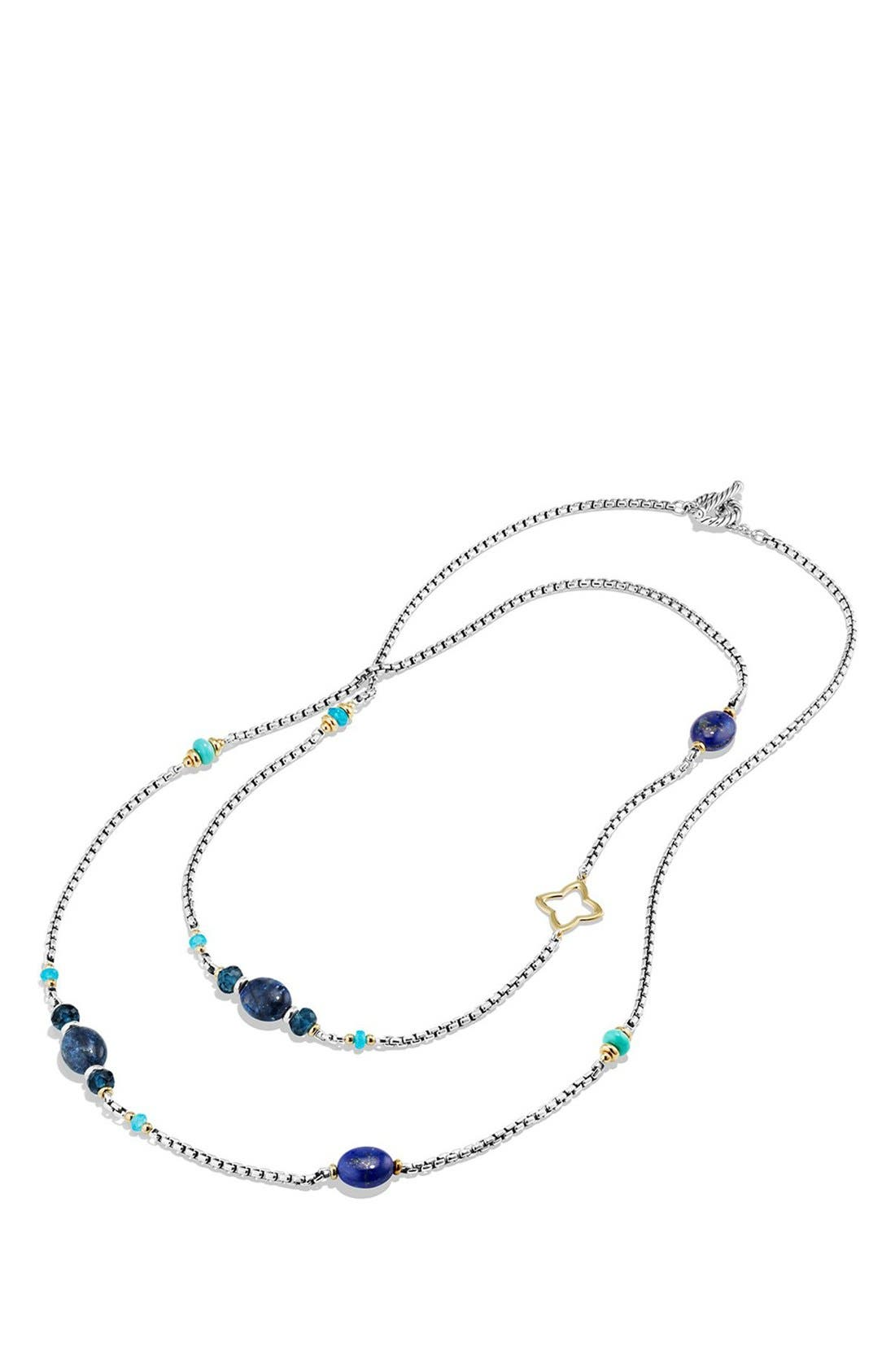 DAVID YURMAN, 'Bead and Chain' Necklace, Alternate thumbnail 2, color, SILVER/ GOLD/ TURQUOISE