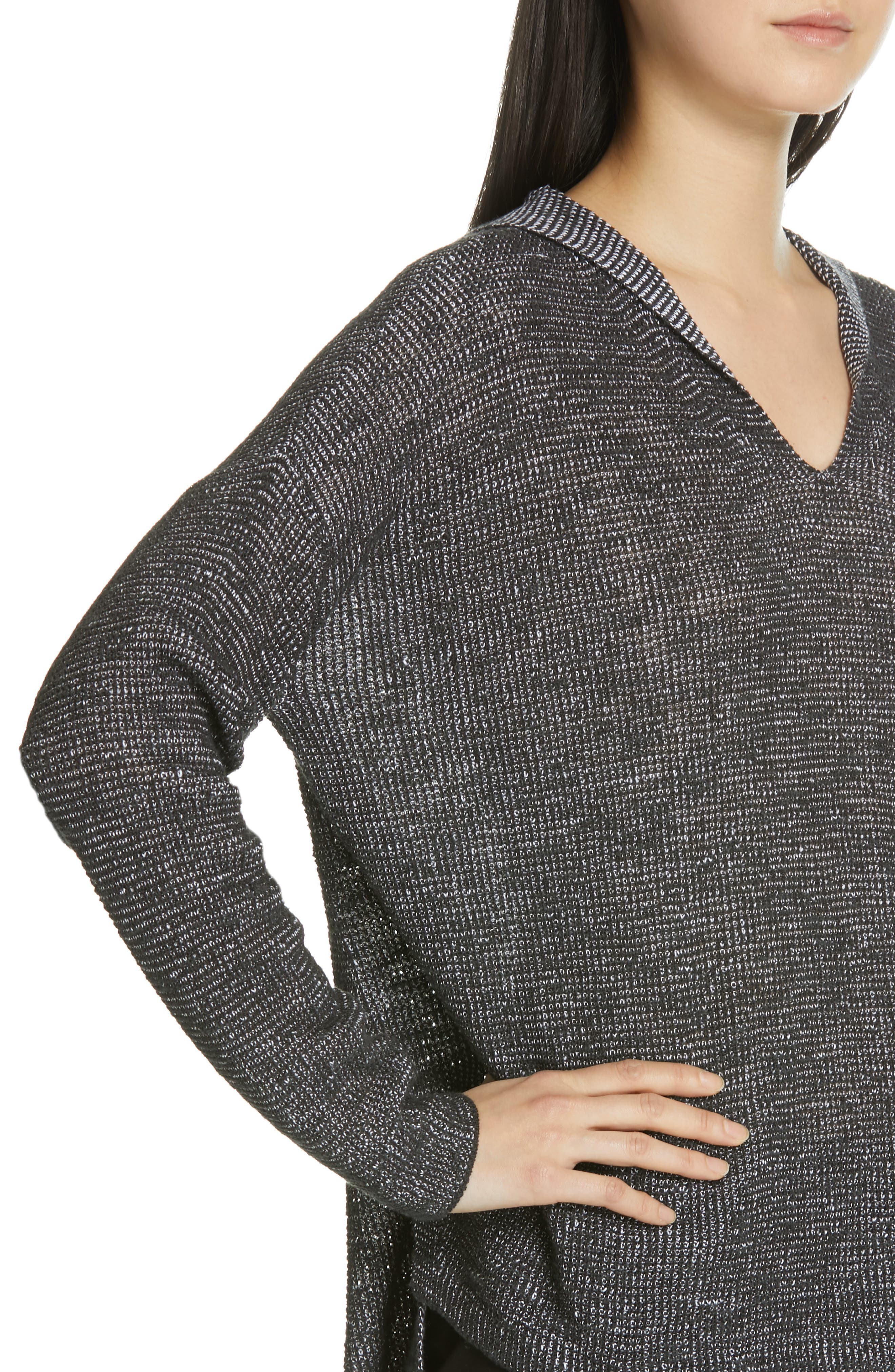 EILEEN FISHER, Organic Linen & Cotton Boxy Hooded Top, Alternate thumbnail 4, color, CHARCOAL