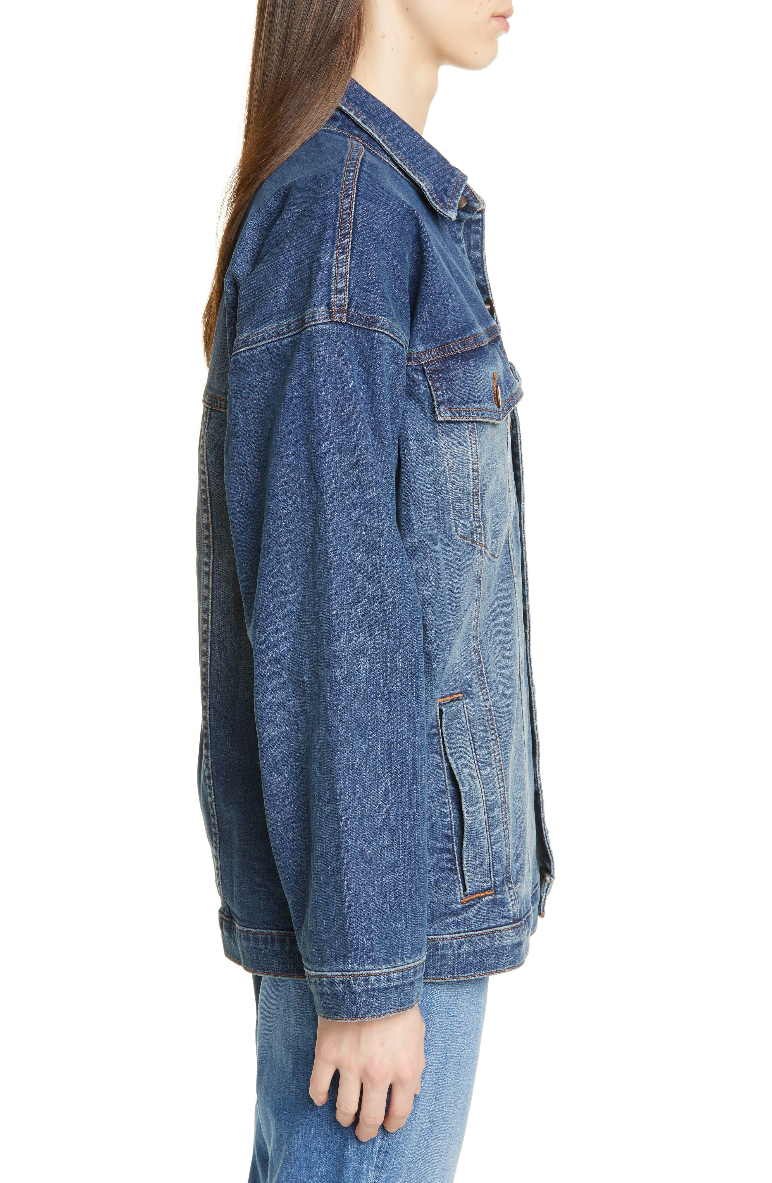 EILEEN FISHER, Oversize Stretch Organic Cotton Denim Jacket, Alternate thumbnail 4, color, AGED INDIGO