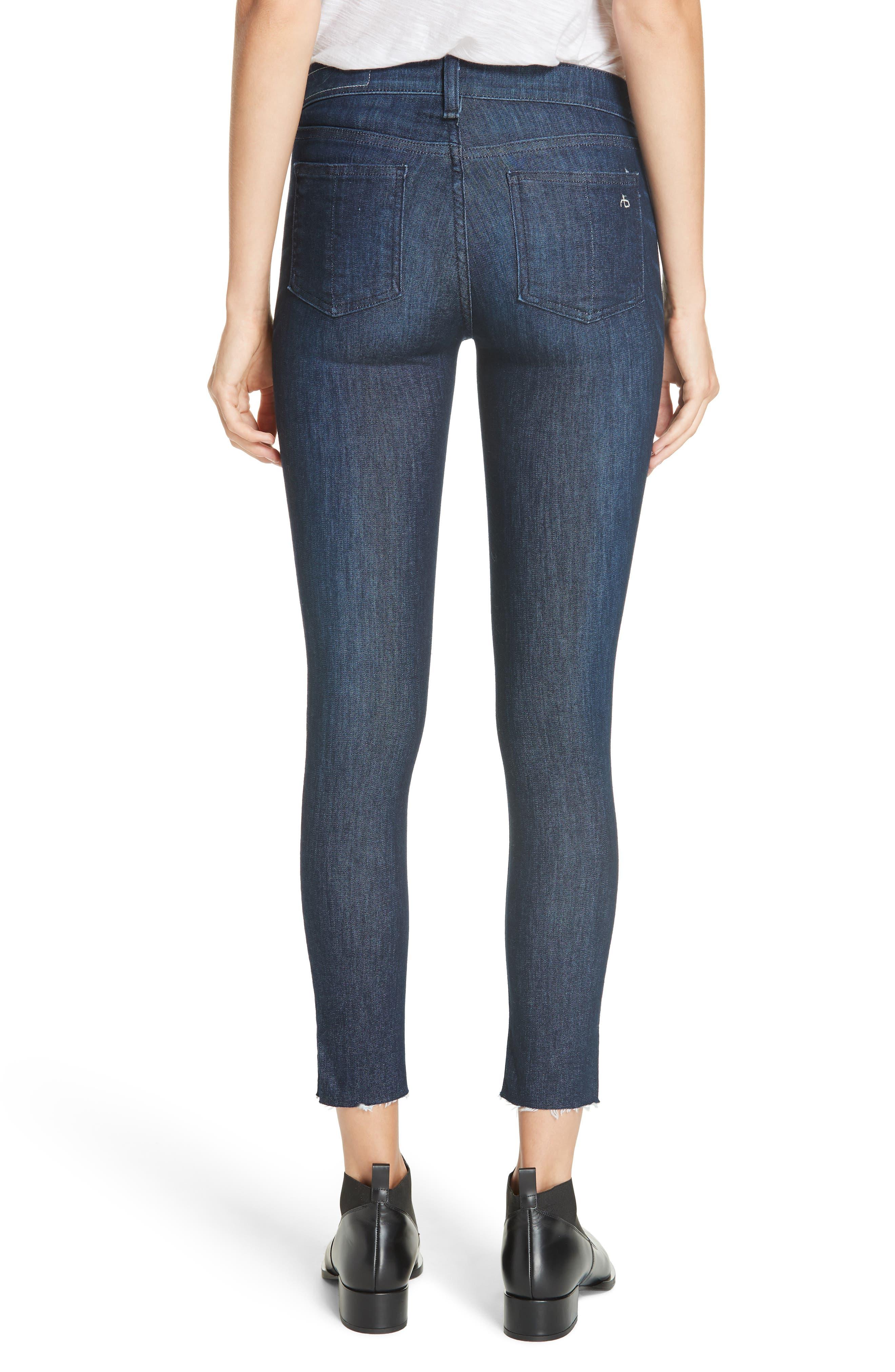 RAG & BONE, Raw Hem Ankle Skinny Jeans, Alternate thumbnail 2, color, TONAL RIVER