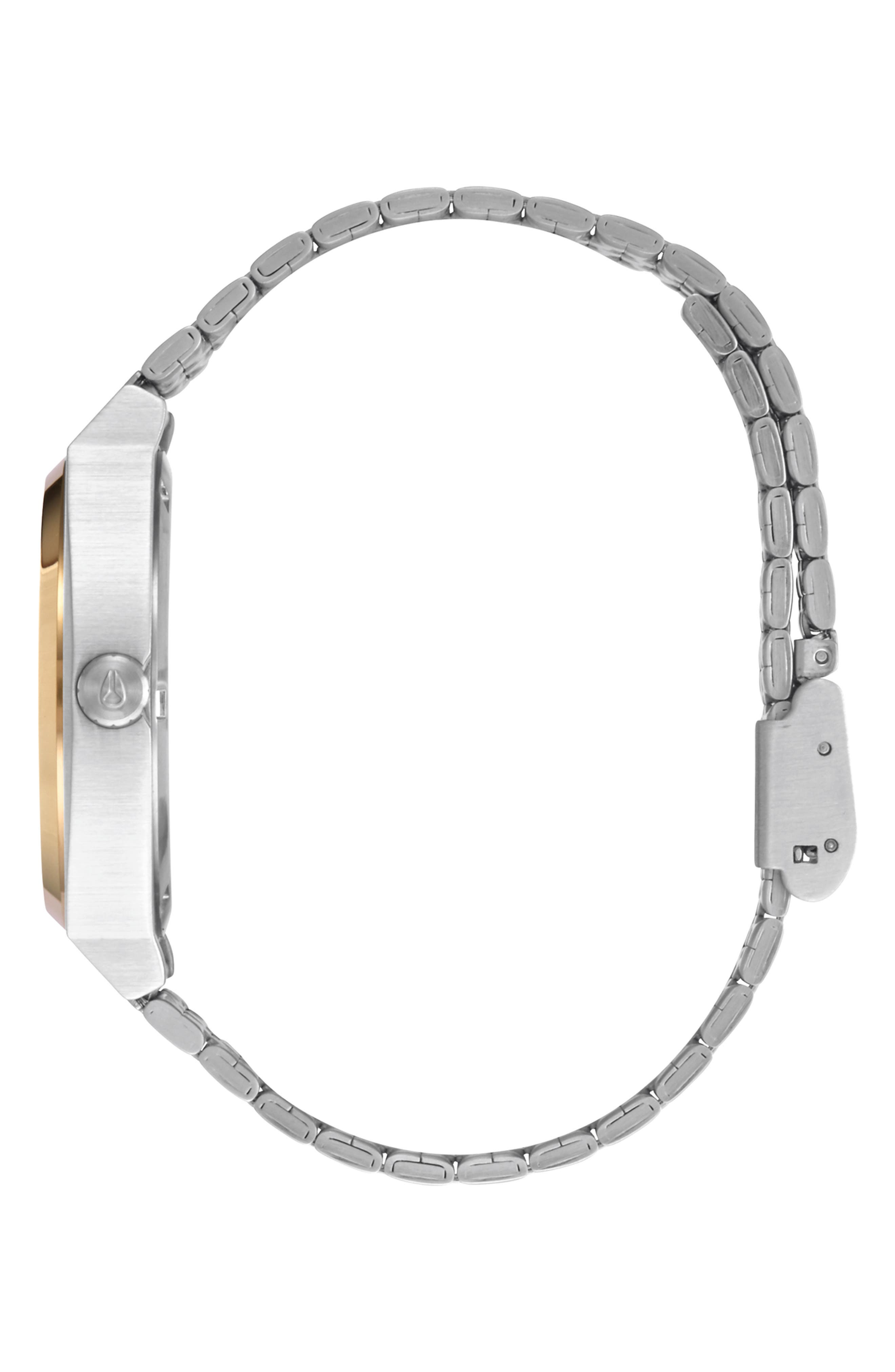 NIXON, 'The Time Teller' Watch, 37mm, Alternate thumbnail 3, color, SILVER/ GOLD