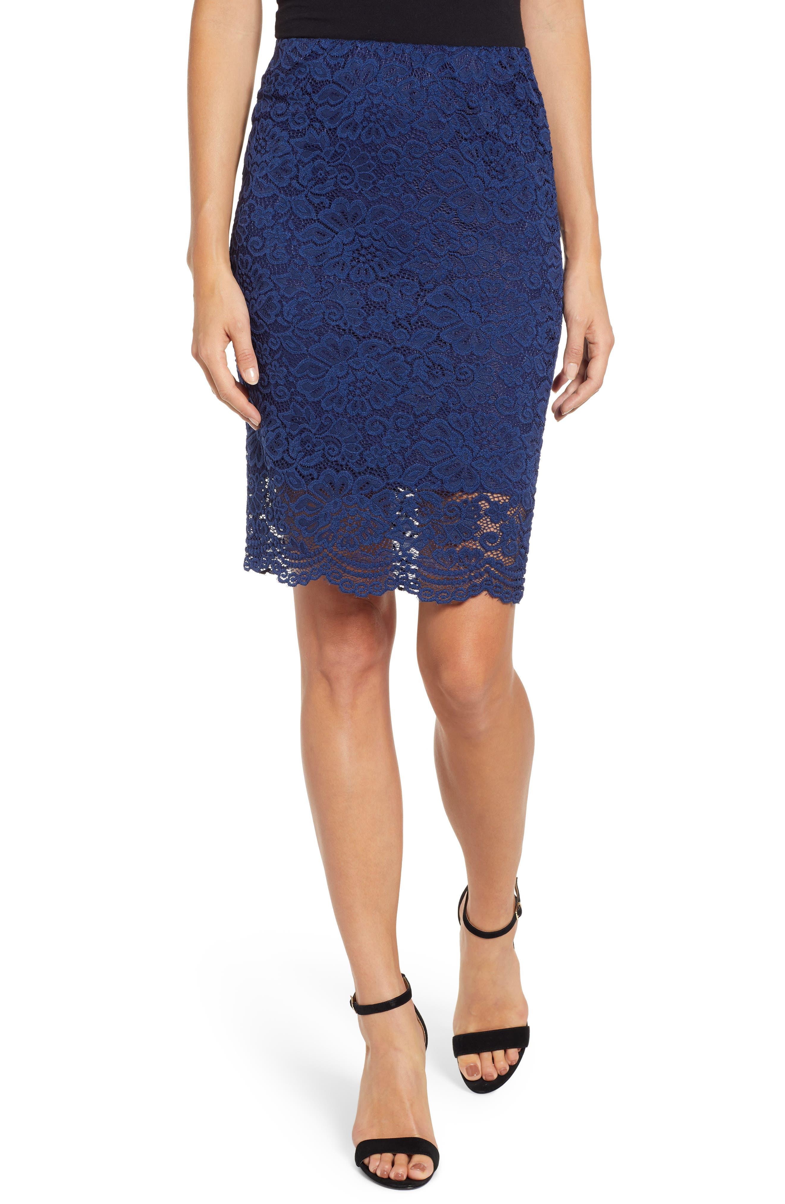 ROSEMUNDE Filippa Scalloped Lace Skirt, Main, color, NAVY PEONY