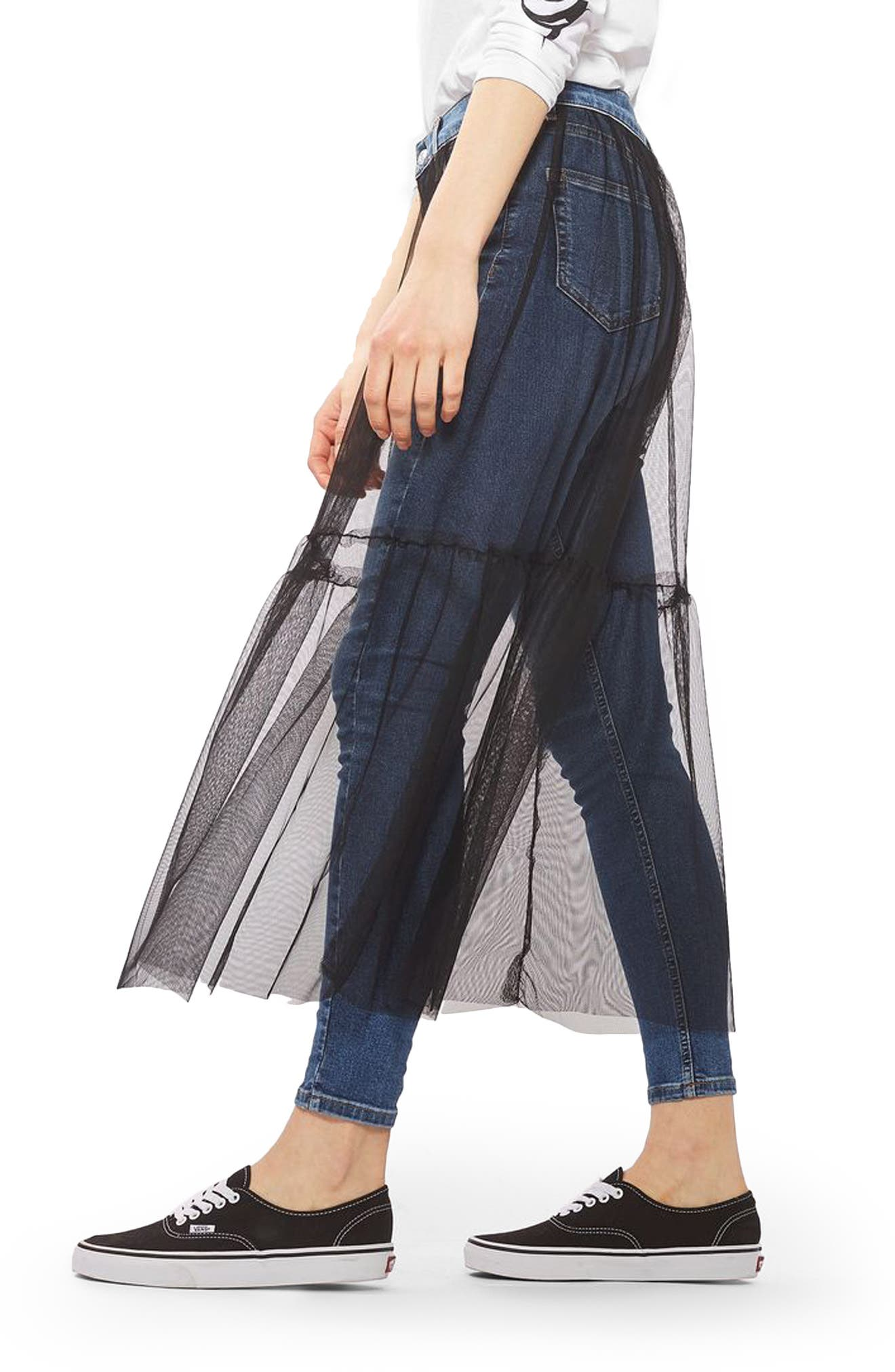 TOPSHOP, Jamie Tulle Overlay Skinny Jeans, Alternate thumbnail 3, color, 400