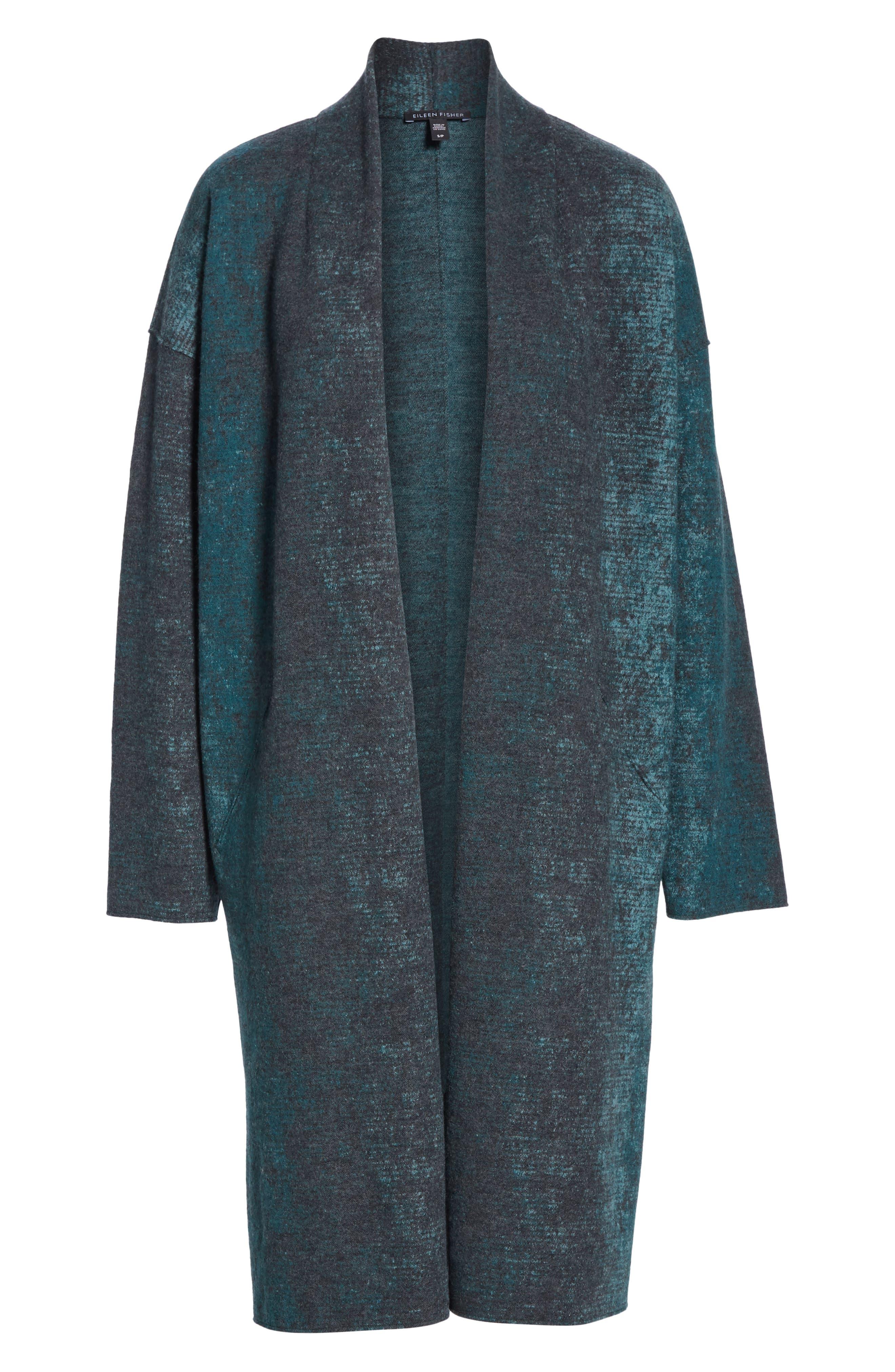 EILEEN FISHER, Wool Blend Kimono Coat, Alternate thumbnail 6, color, PINE