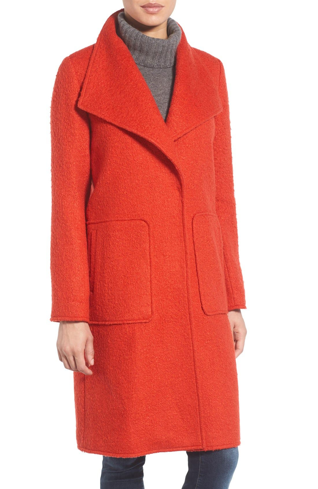 BERNARDO, Textured Long Coat, Main thumbnail 1, color, 852
