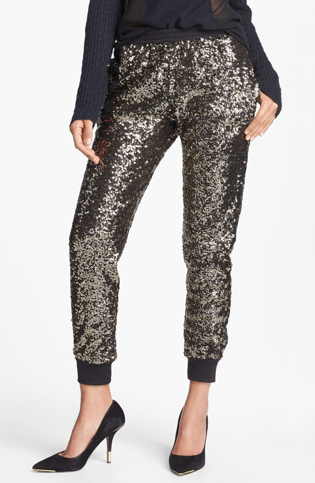 WAYF Crop Sequin Track Pants, Main, color, 710