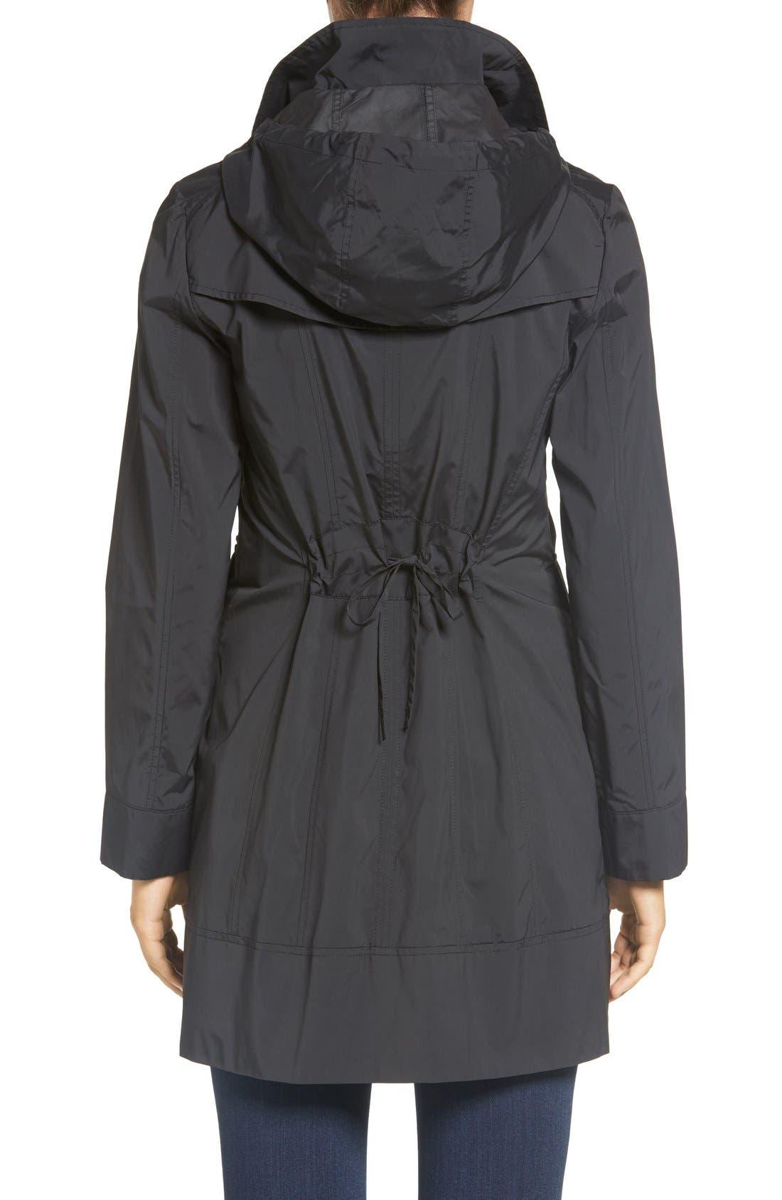 COLE HAAN SIGNATURE, Back Bow Packable Hooded Raincoat, Alternate thumbnail 6, color, BLACK