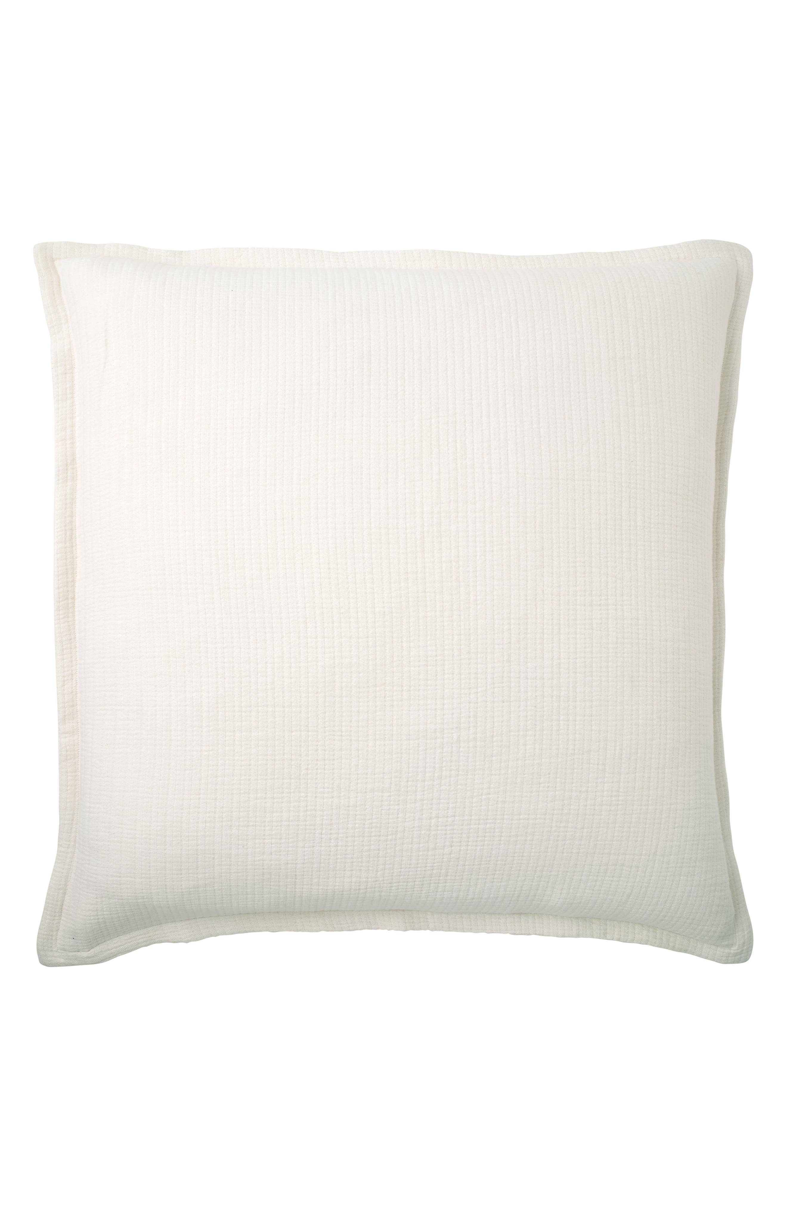 DKNY Pure Stonewashed Euro Accent Sham, Main, color, WHITE