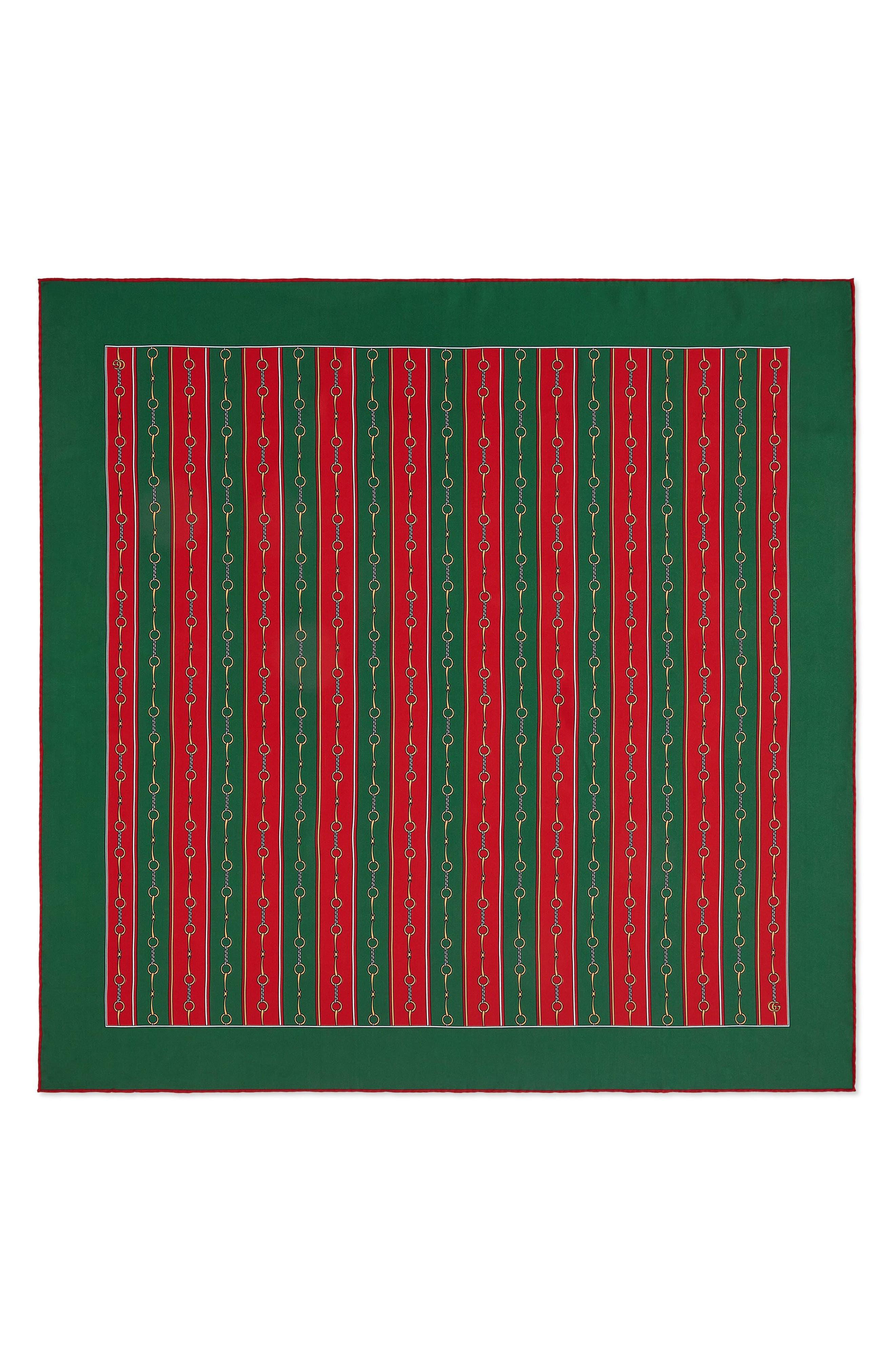 GUCCI, Stripe Horsebit Print Silk Scarf, Main thumbnail 1, color, GREEN/ RED