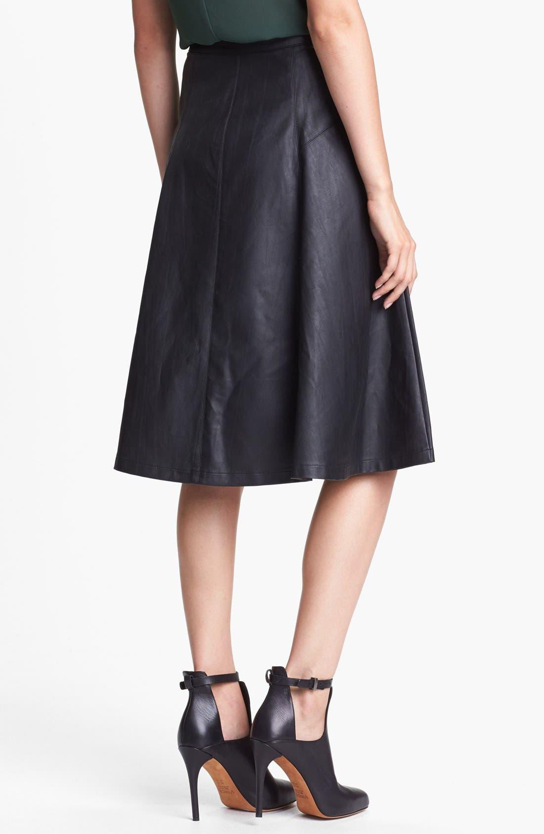 ASTR THE LABEL, ASTR Faux Leather Midi Skirt, Alternate thumbnail 3, color, 001
