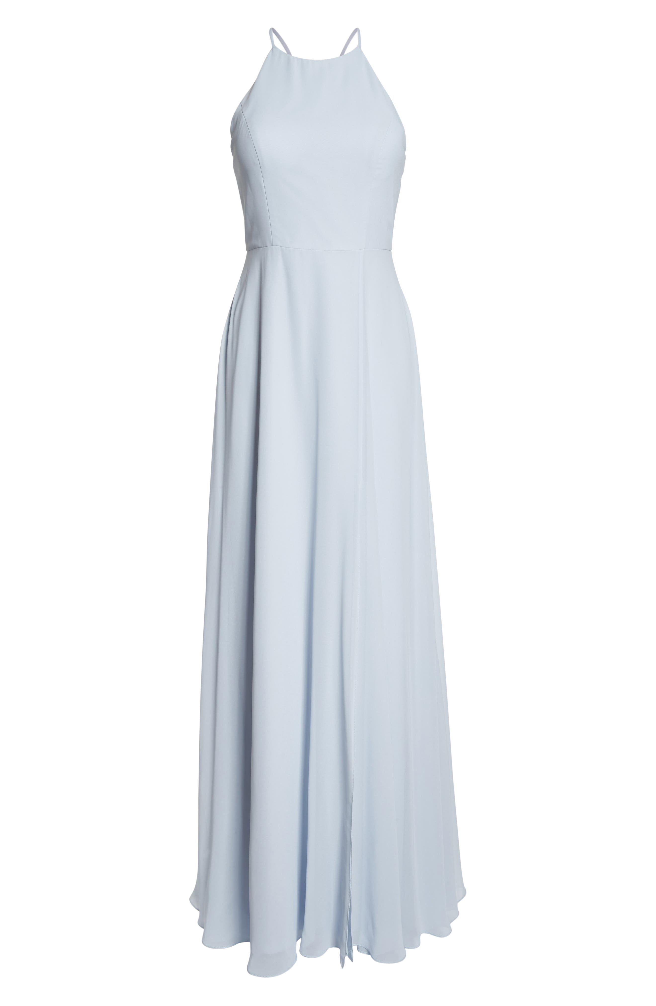 JENNY YOO, Kayla A-Line Halter Gown, Alternate thumbnail 8, color, WHISPER BLUE