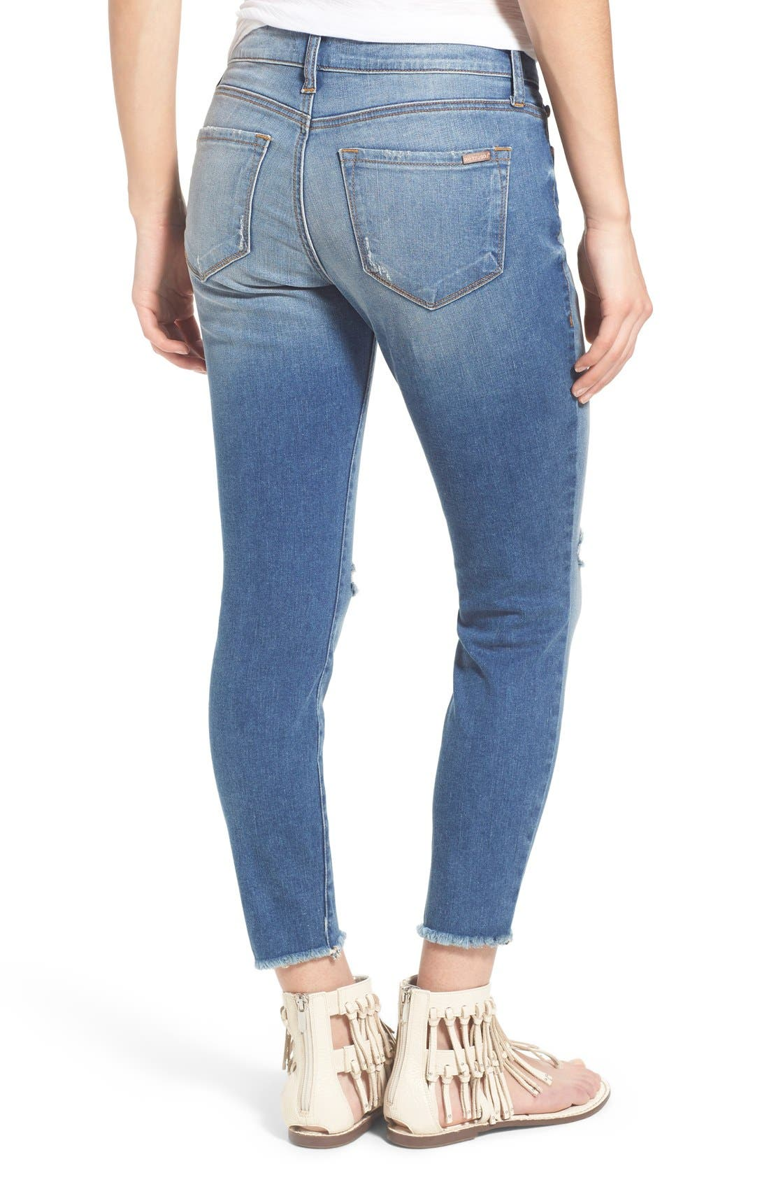 STS BLUE, Crop Raw Hem Skinny Jeans, Alternate thumbnail 5, color, 400