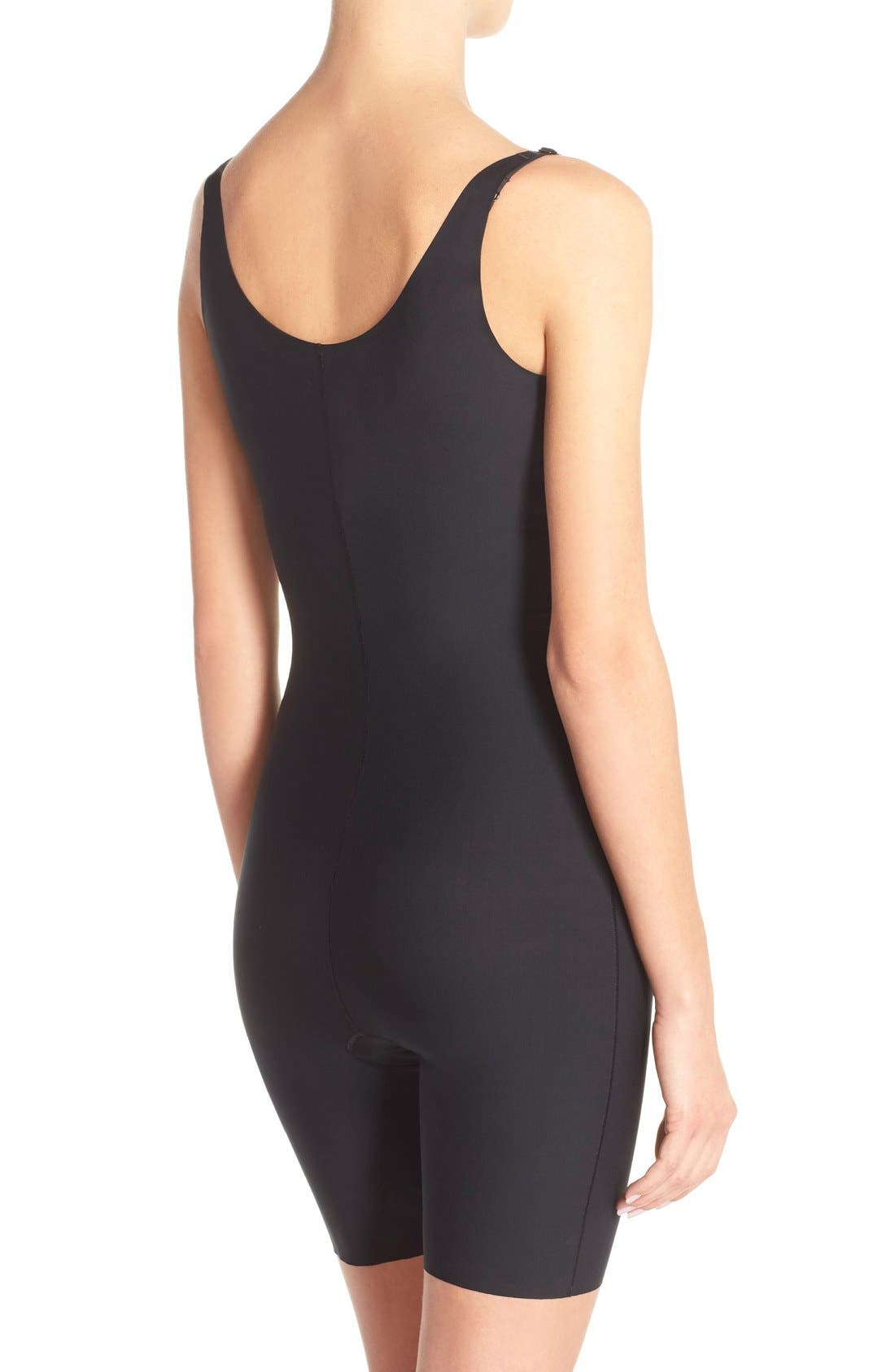 SPANX<SUP>®</SUP>, Thinstincts Open Bust Mid Thigh Bodysuit, Alternate thumbnail 2, color, VERY BLACK