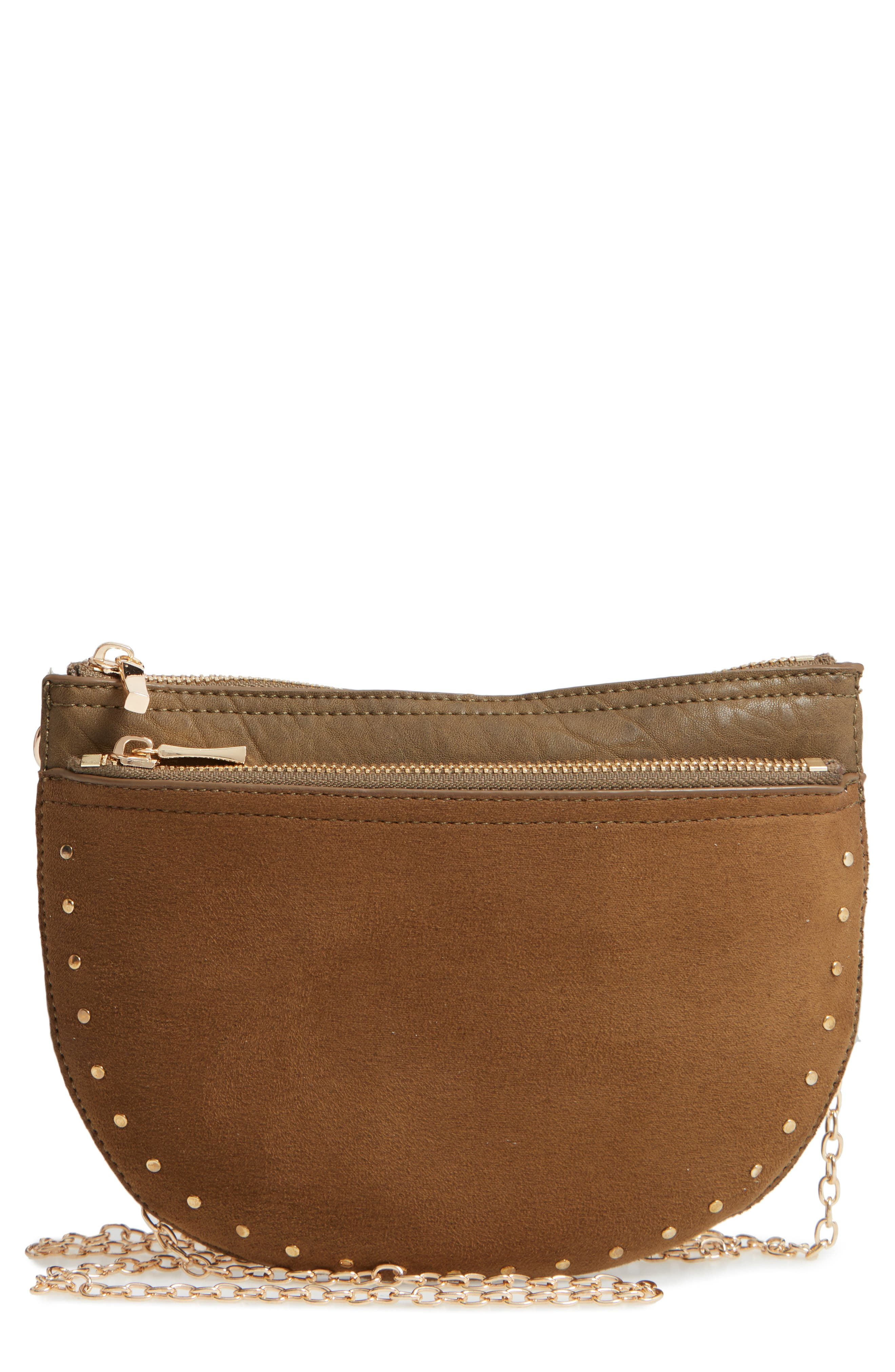 SOLE SOCIETY Jeana Studded Convertible Belt Bag, Main, color, OLIVE