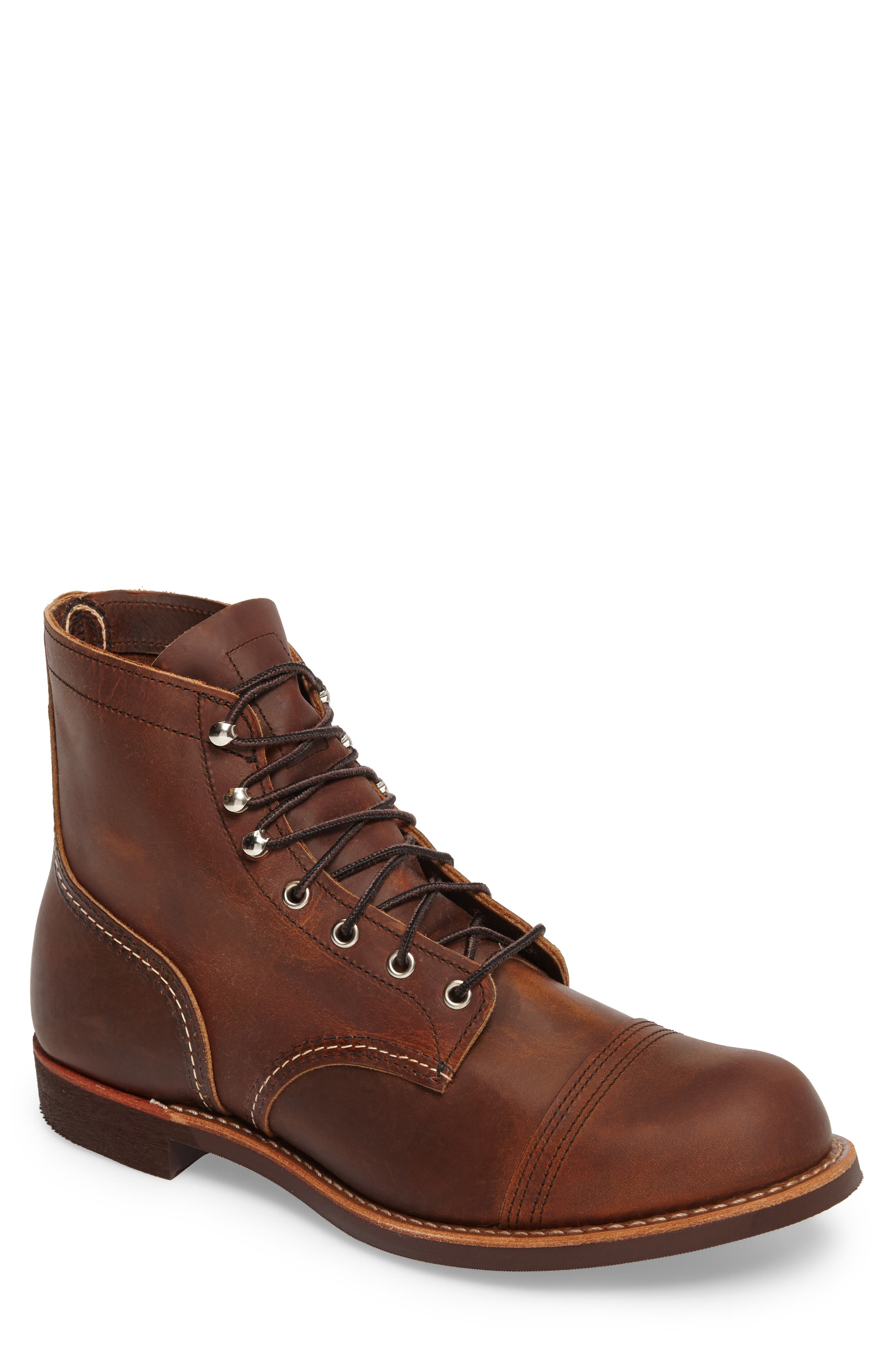 RED WING, Iron Ranger Cap Toe Boot, Main thumbnail 1, color, COPPER LEATHER